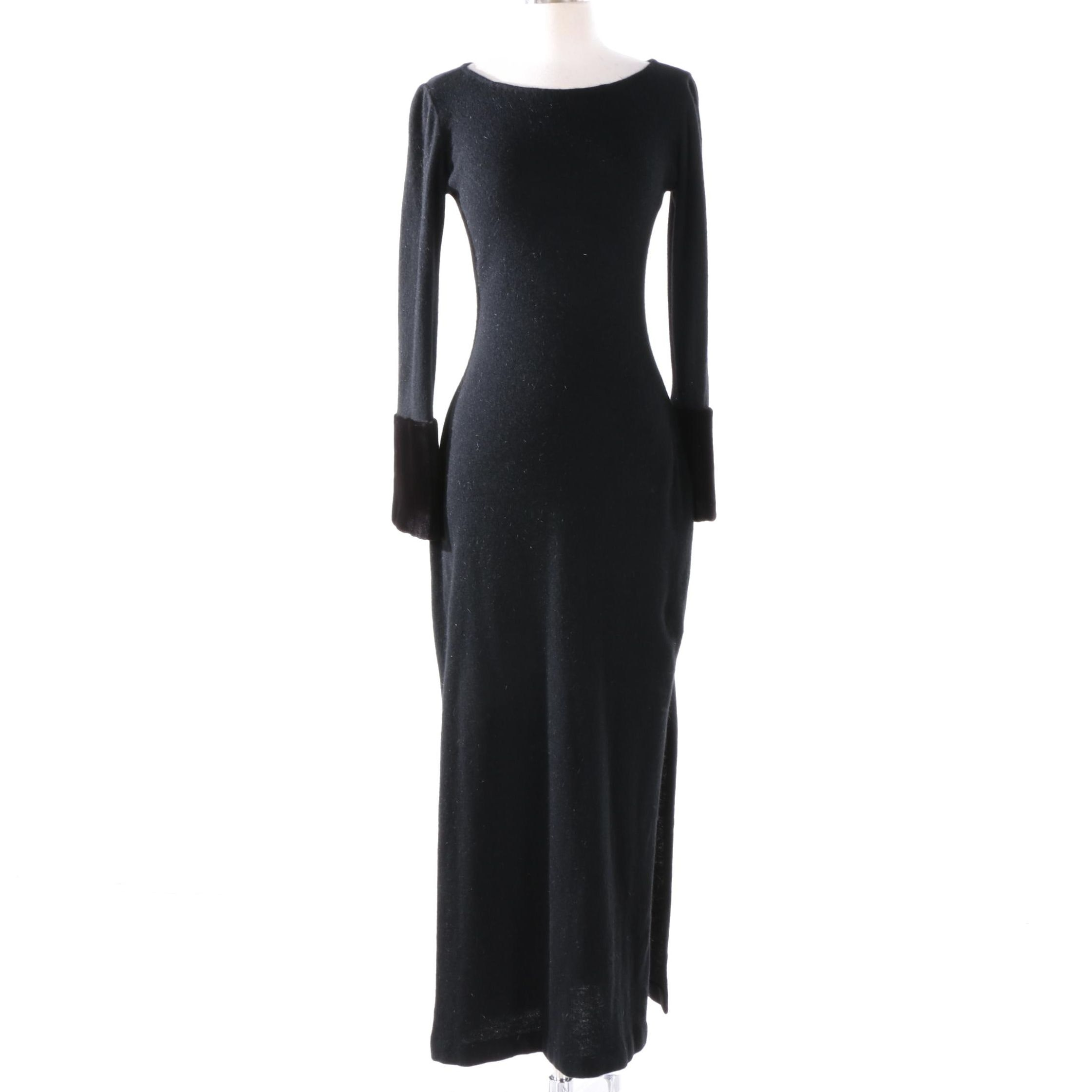 Pamela Dennis Couture Black Wool Dress with Sheared Mink Fur Cuffs
