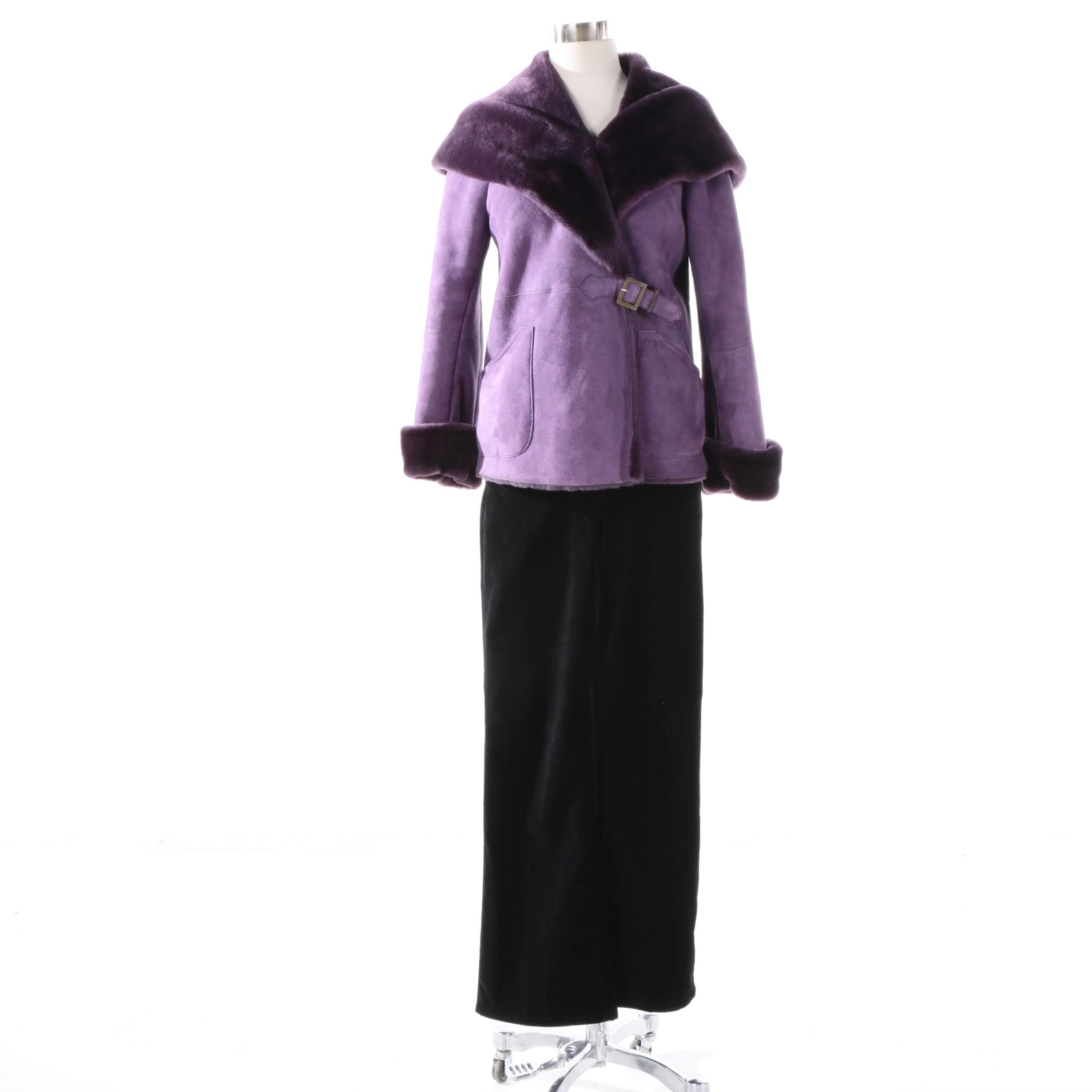 Brioni Purple Suede Shearling Coat and MICHAEL Michael Kors Velvet Pants