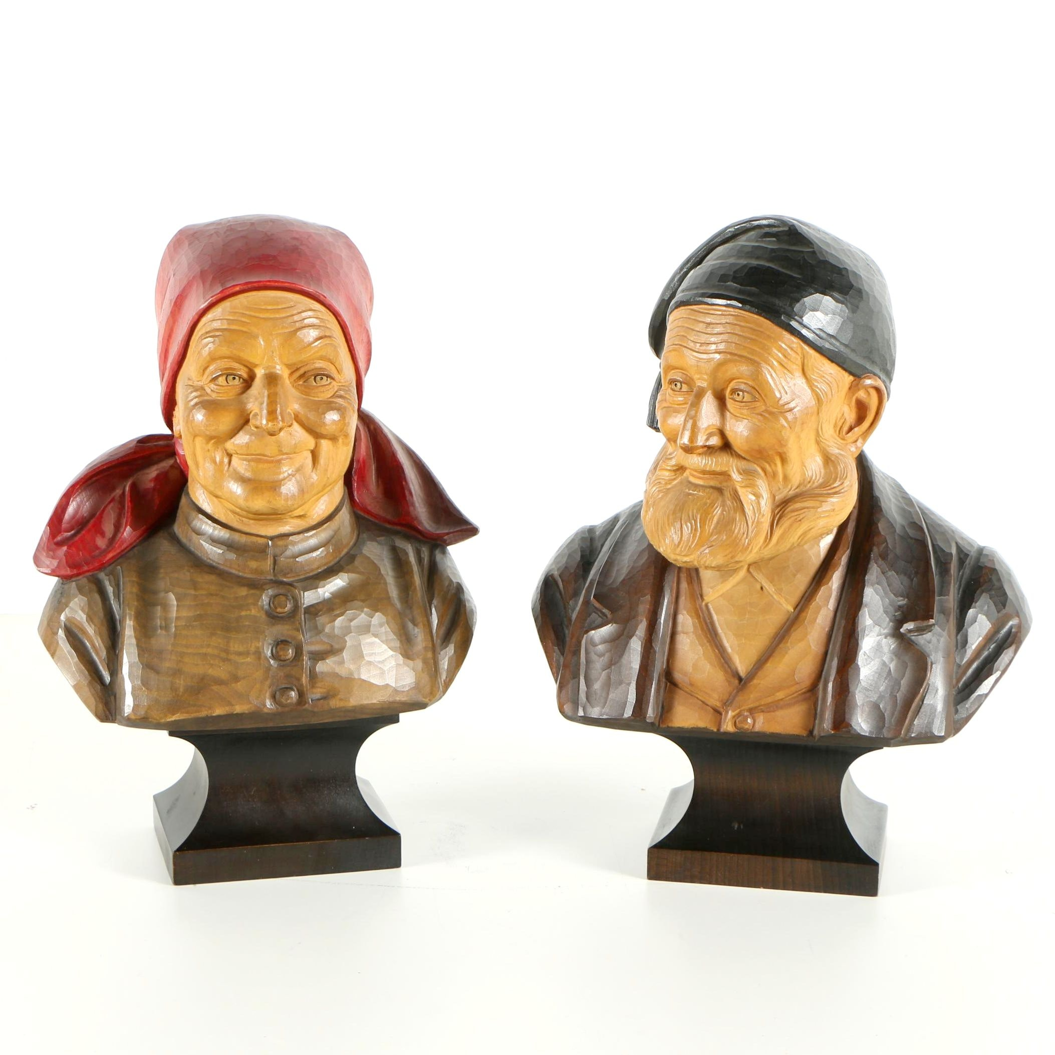 Hans Huggler-Wyss Carved Wood Busts