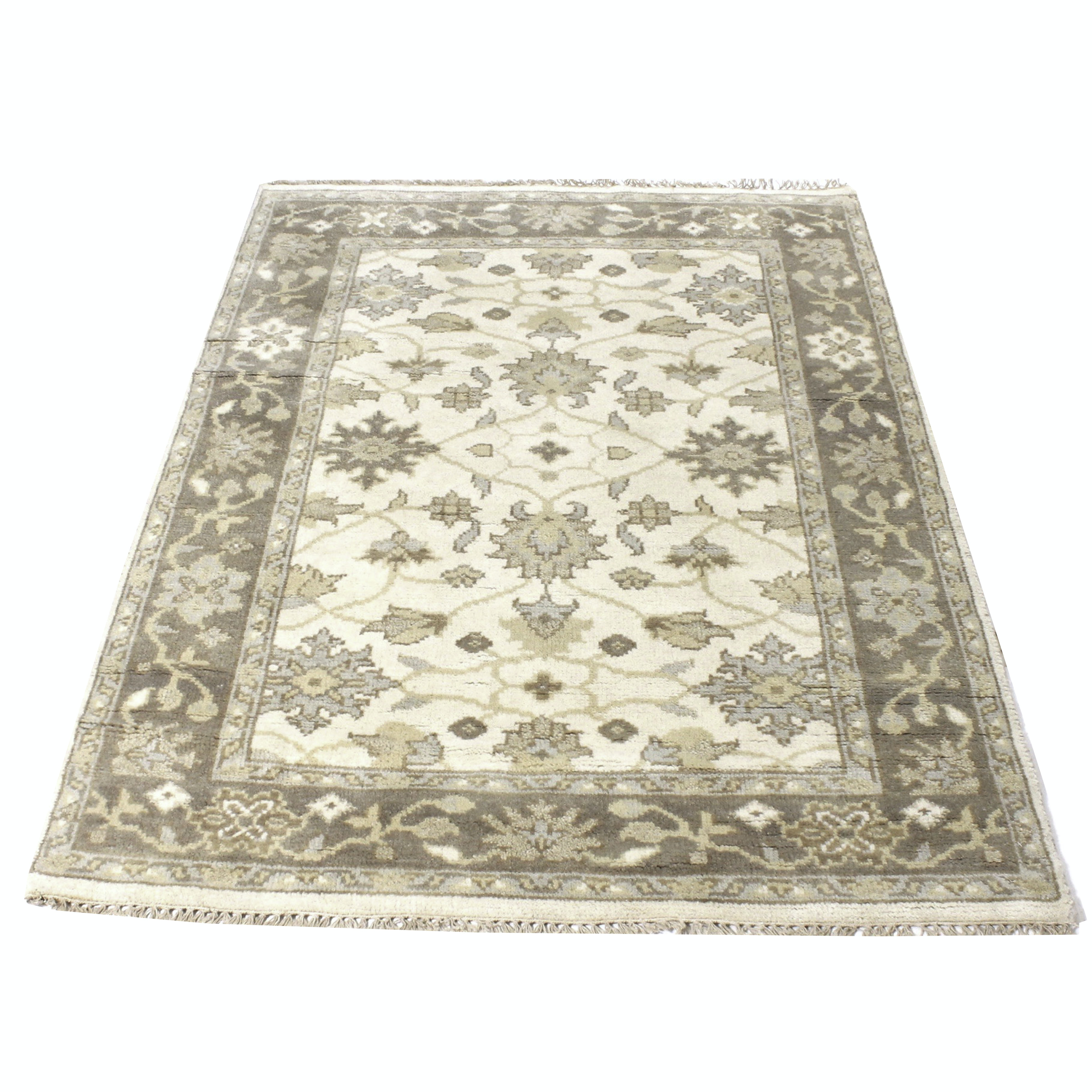 4' x 6' Hand-Knotted Indo-Persian Oushak Chobi Rug