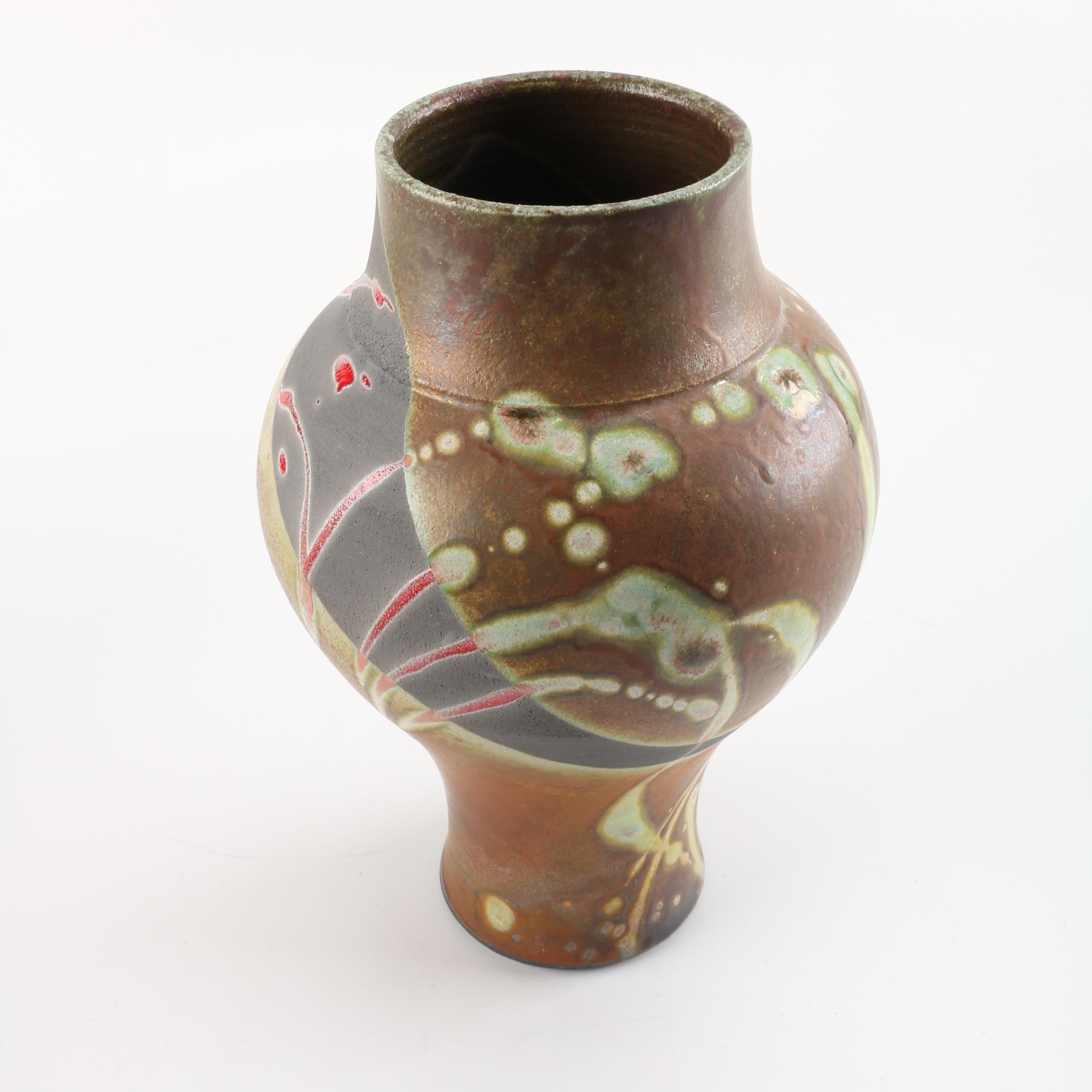 Wheel Thrown Stoneware Vase in Red and Earthtones