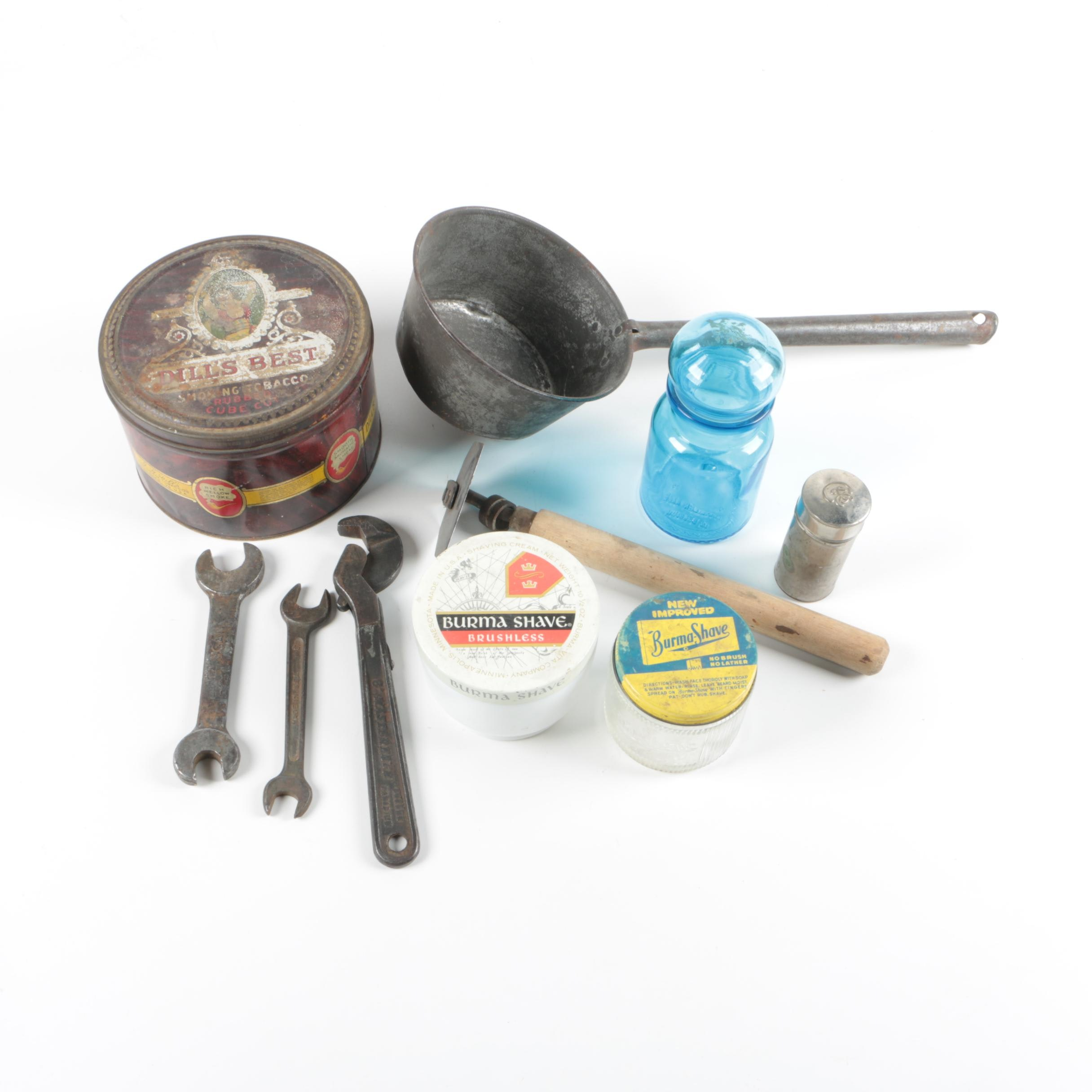 Dill's Best Tobacco Tin, Hand Tools, Glass Jar and Other Collectibles