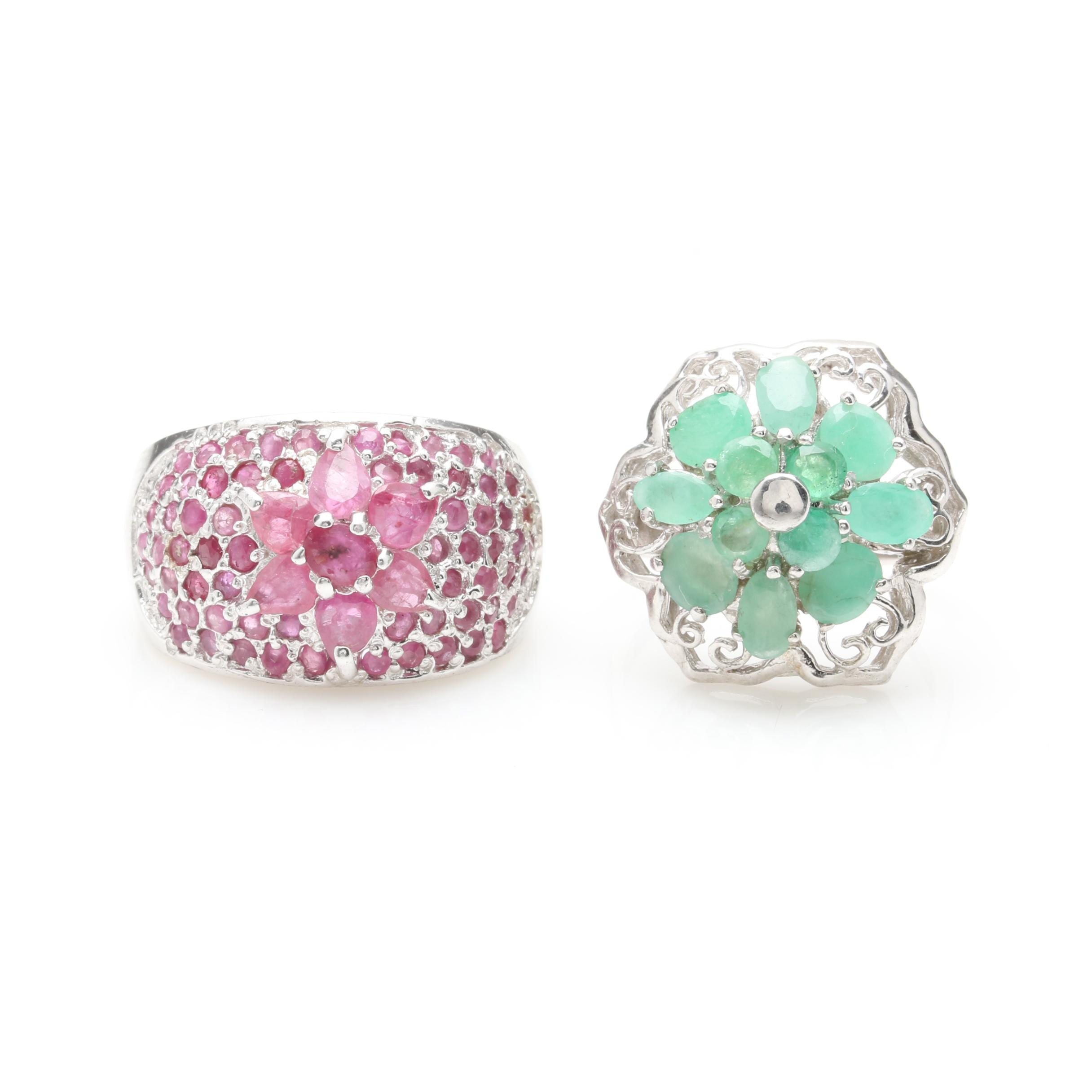 Sterling Silver Ruby and Green Beryl Rings