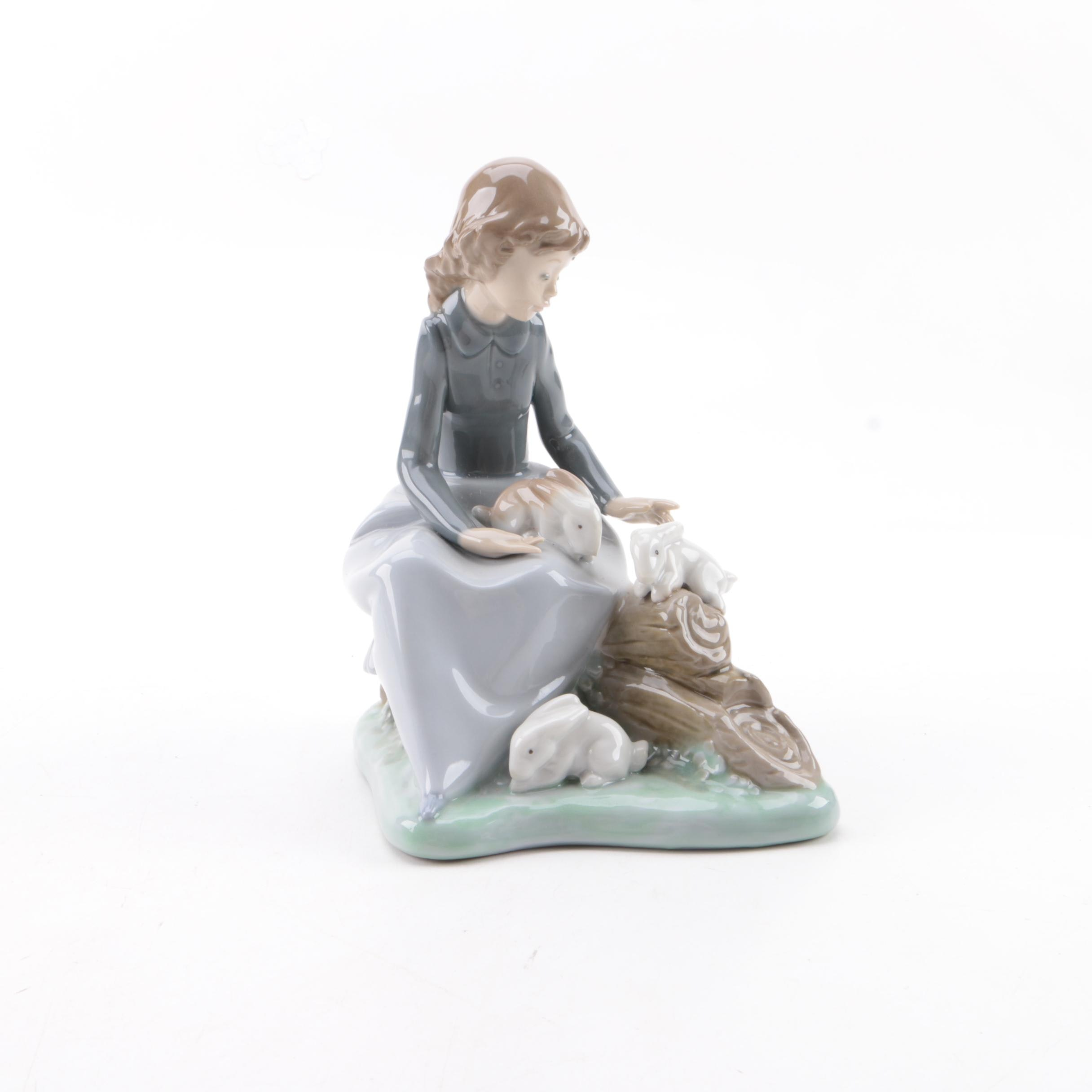 "Nao ""Girl with Bunny Rabbits Figurine by Lladro"