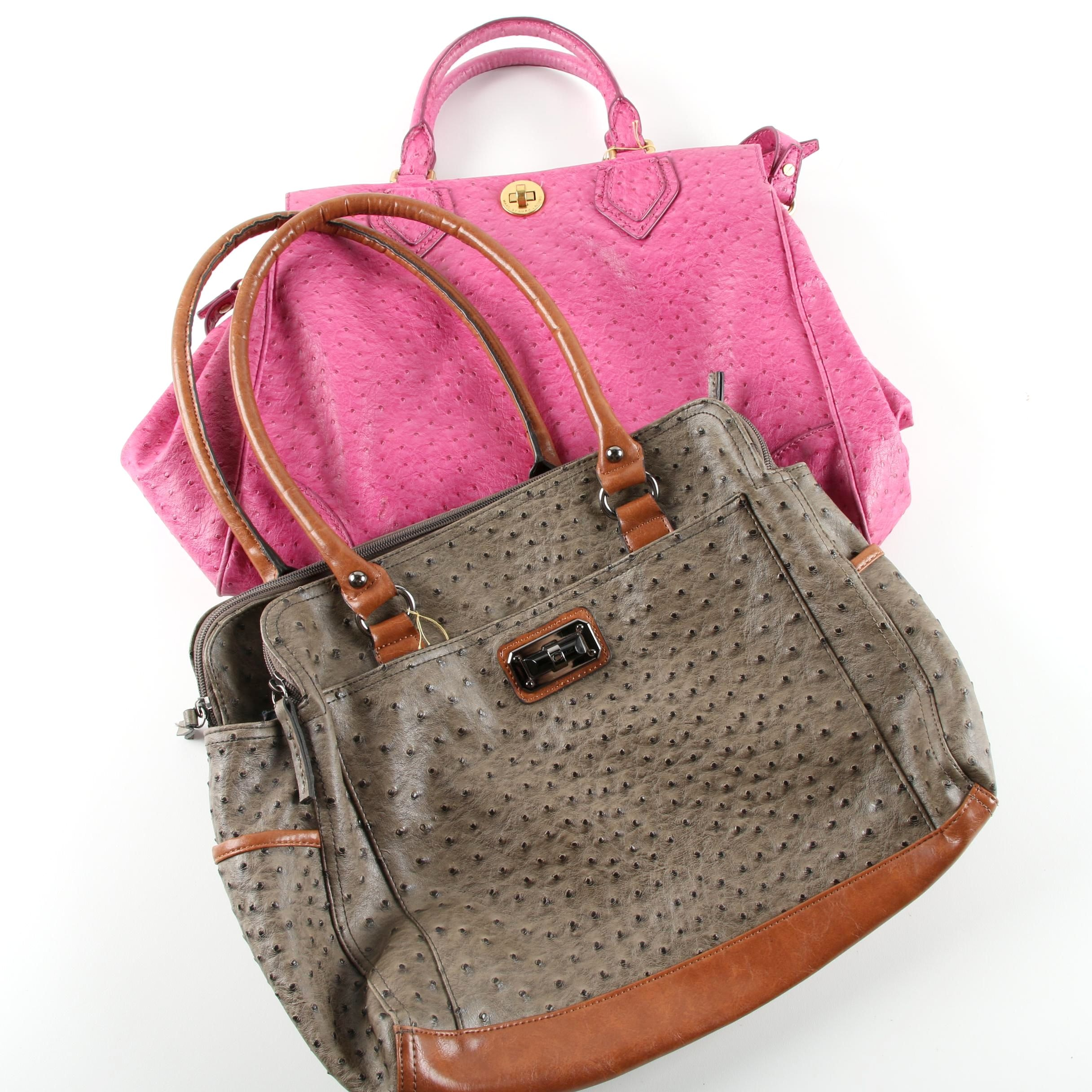 Ostrich Embossed Dyed Leather Handbags Featuring Marc by Marc Jacobs