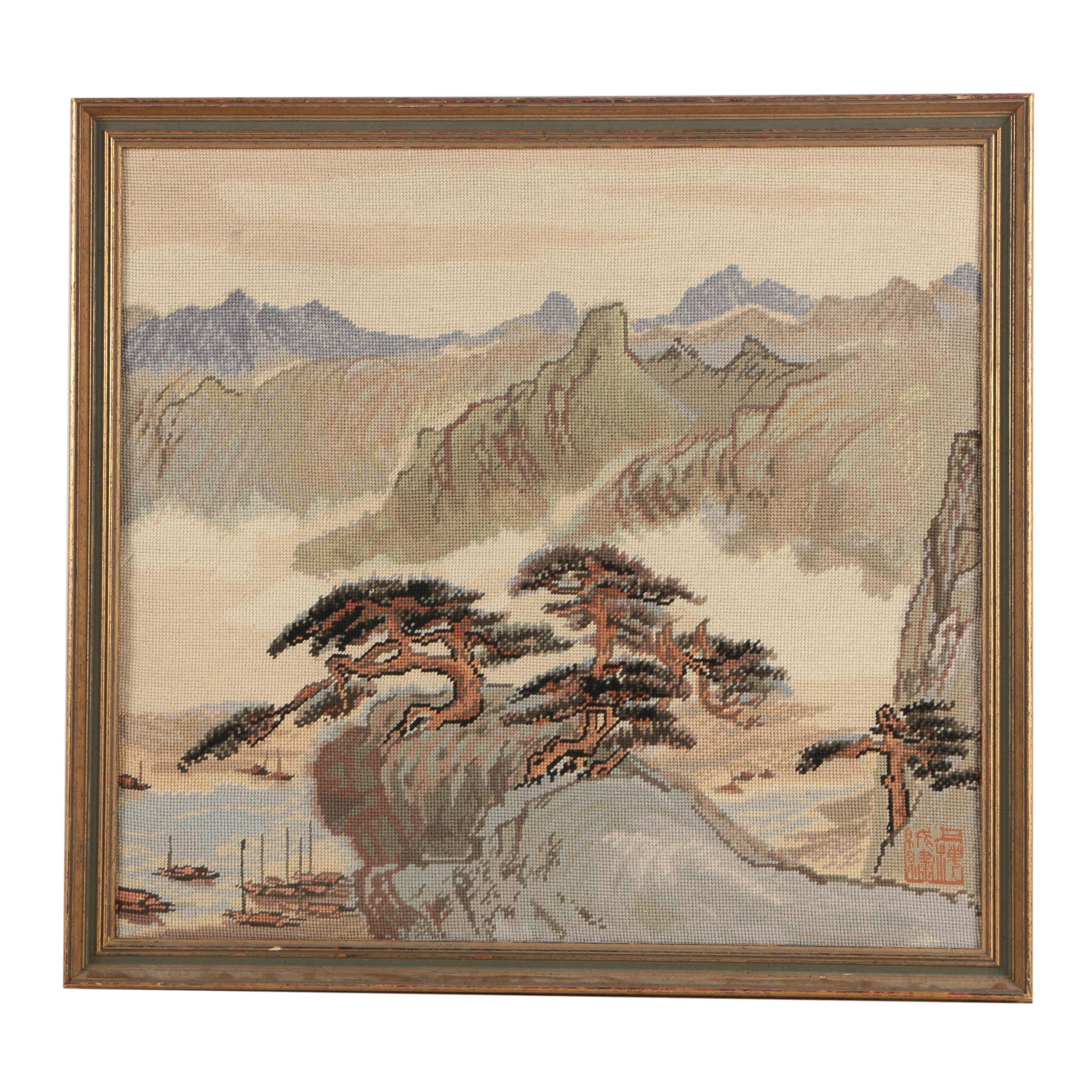 Chinese Inspired Needlepoint of a Mountainous Landscape