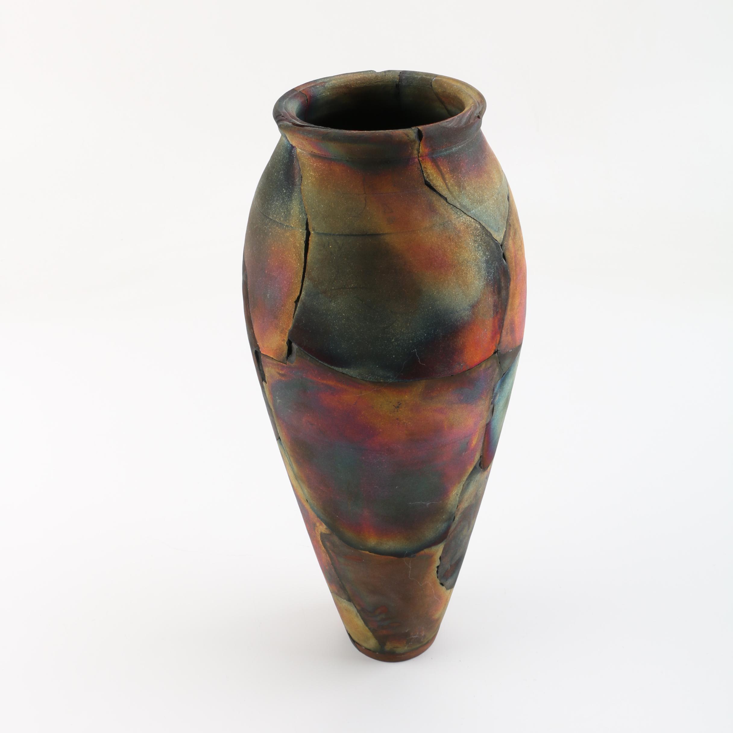 Signed, Wheel Thrown and Altered Raku Fired Vase