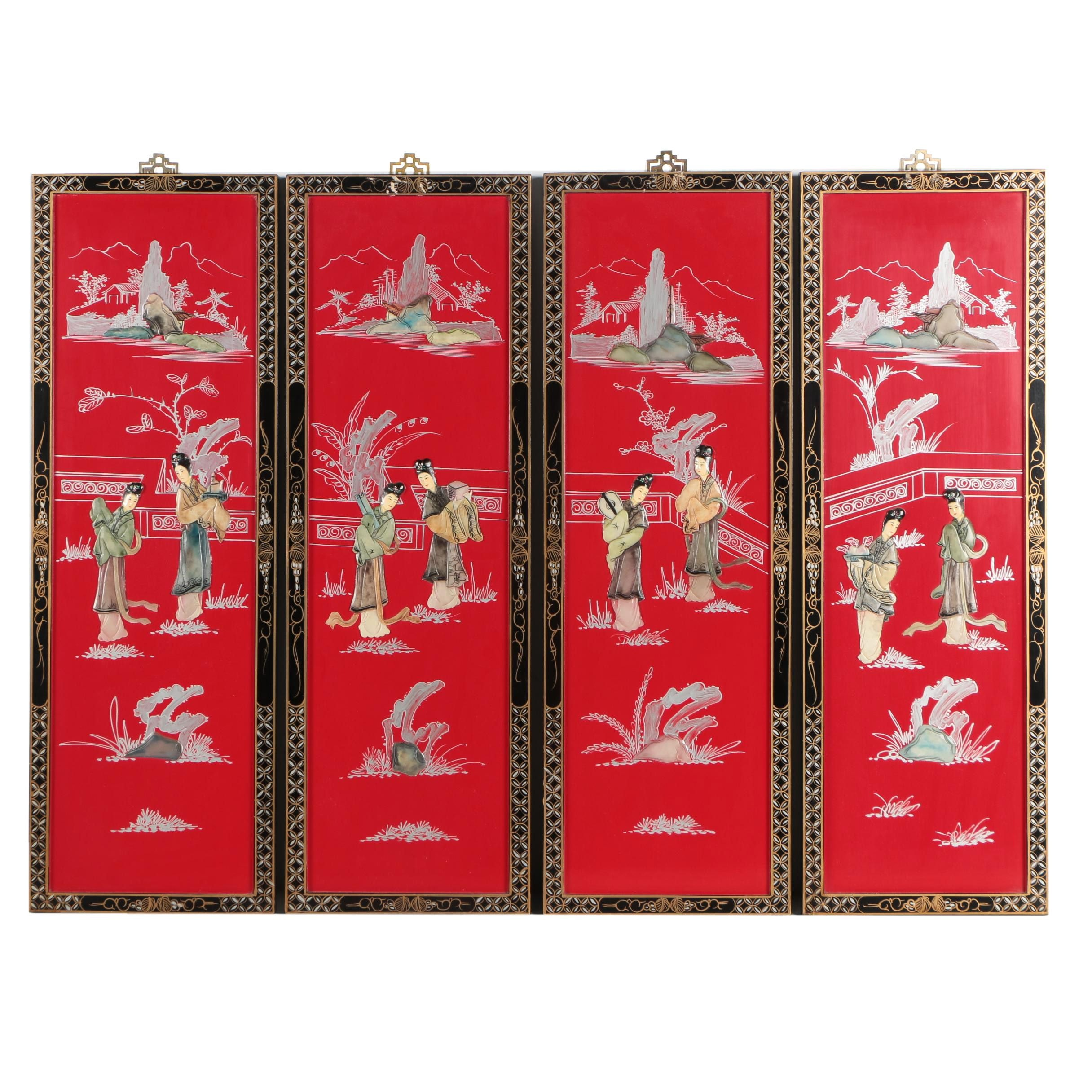 Chinese Wood Panels with Carved Soapstone Inlays