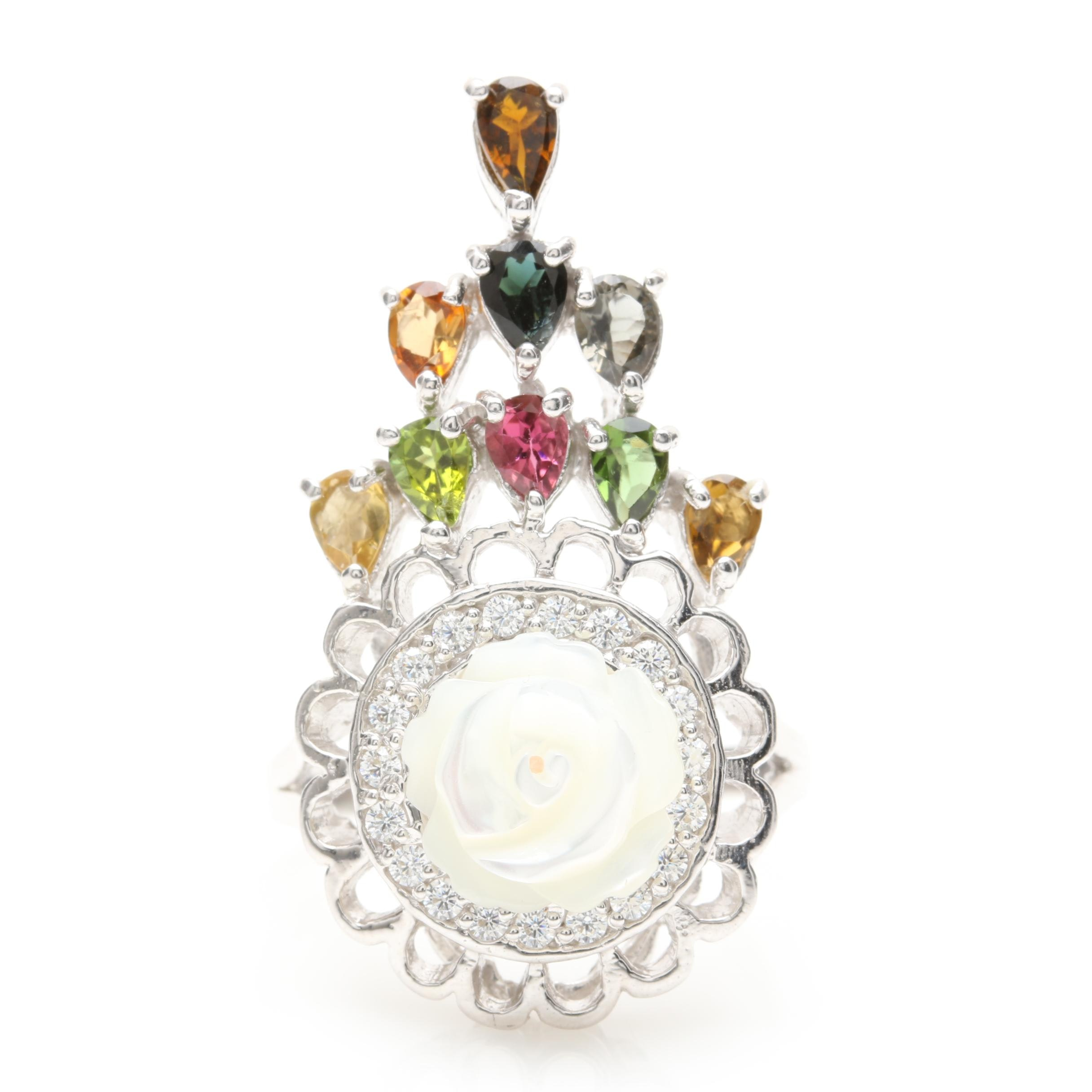 Sterling Silver Mother of Pearl, Citrine, Tourmaline, and Peridot Ring