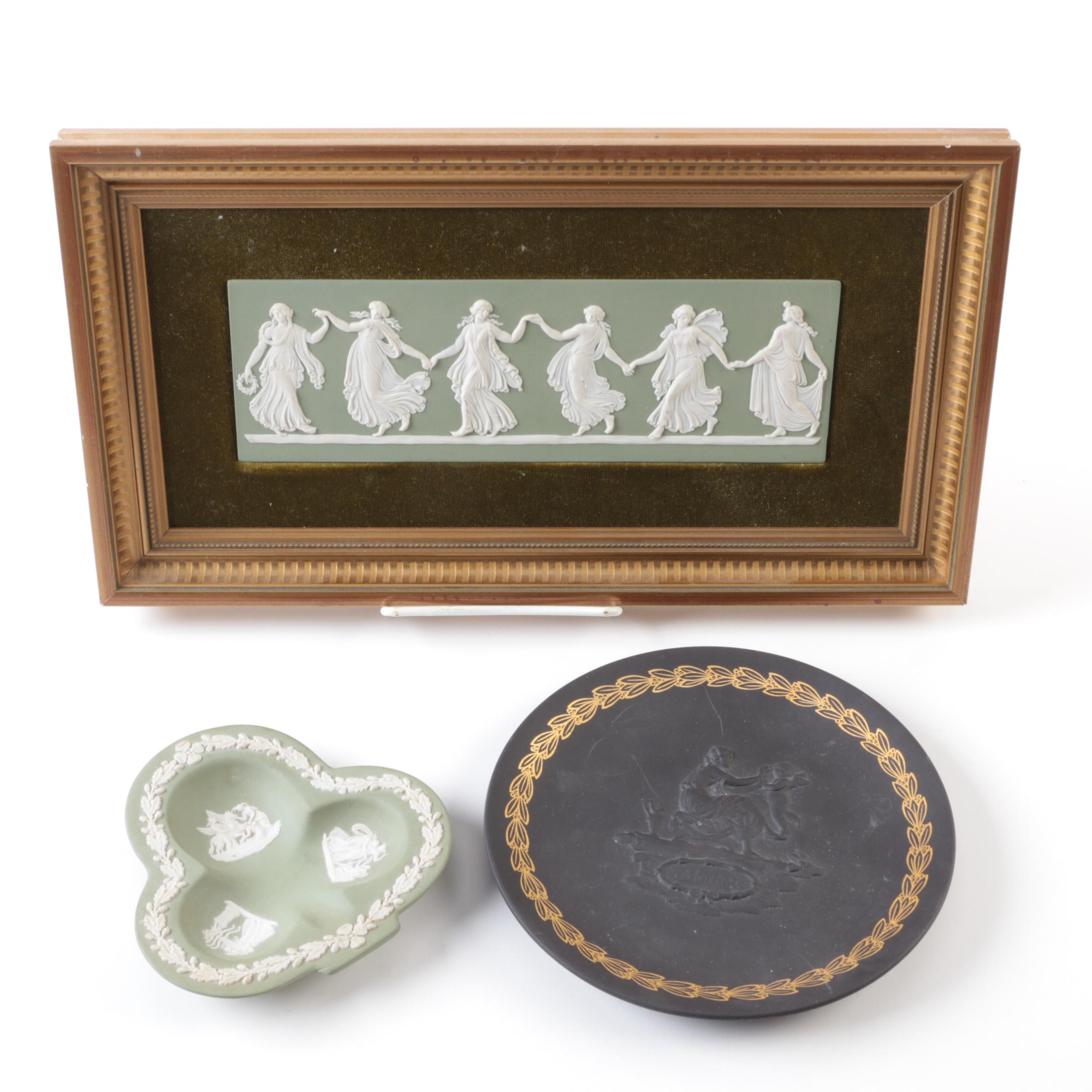 "Wedgwood ""Dancing Hours"" Jasperware Plaque with Decorative Trays"