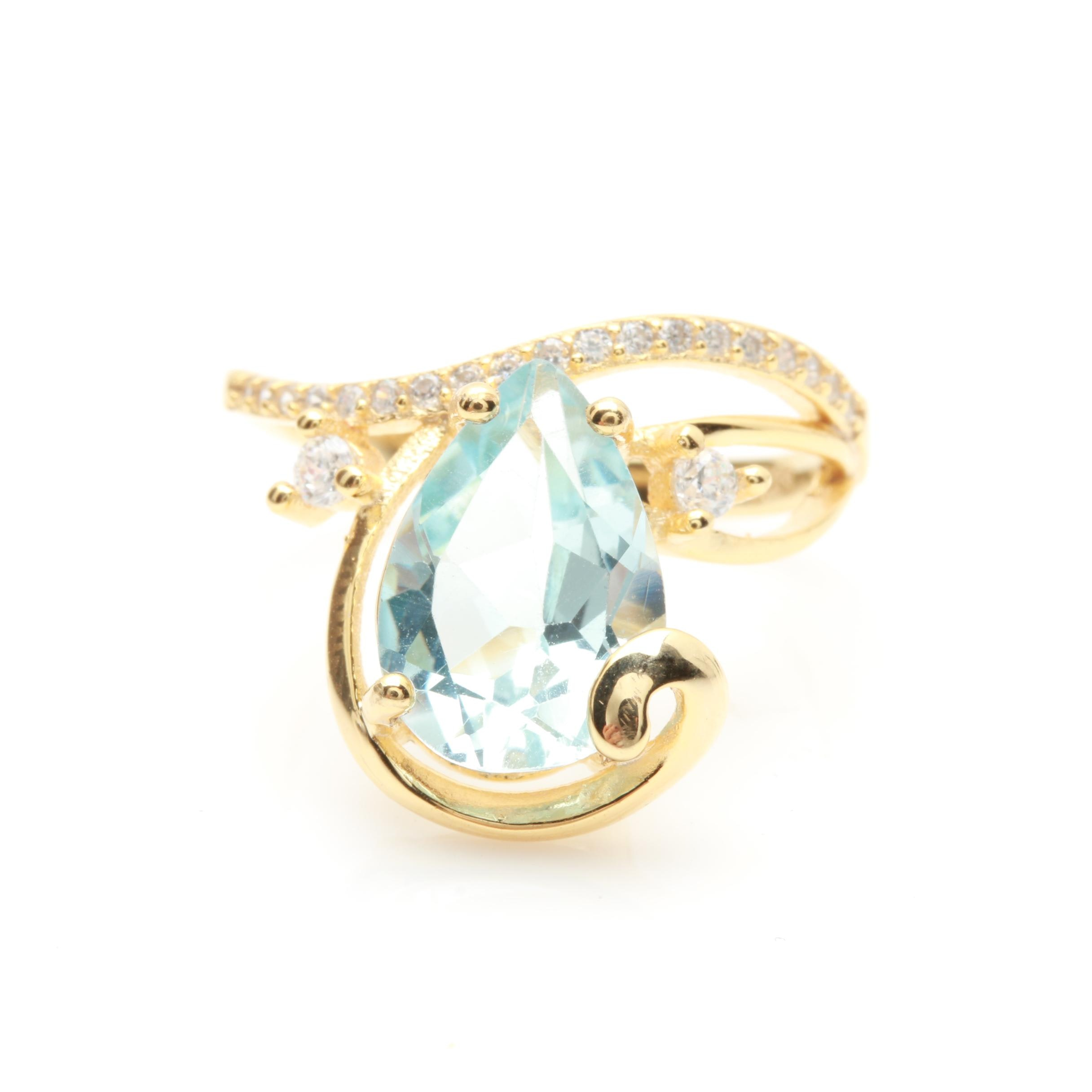 Gold Wash on Sterling Silver Topaz and Cubic Zirconia Ring