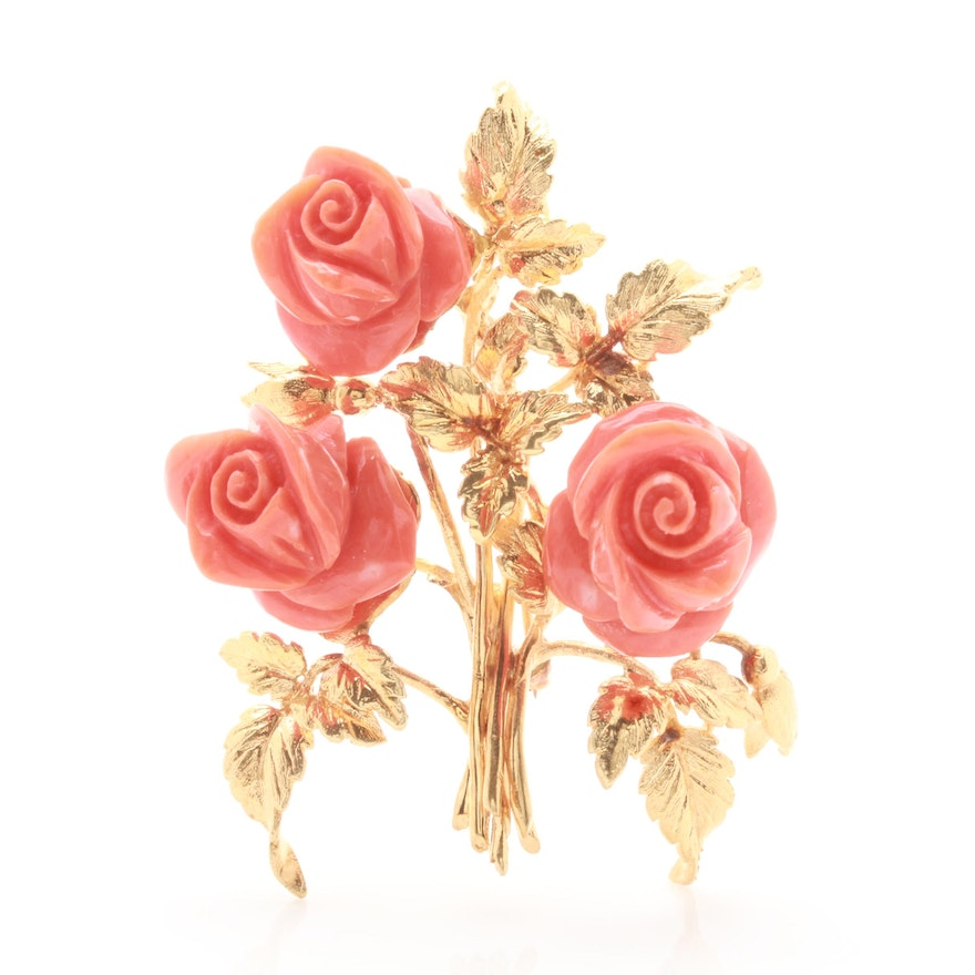 18k yellow gold carved coral flower brooch ebth 18k yellow gold carved coral flower brooch mightylinksfo