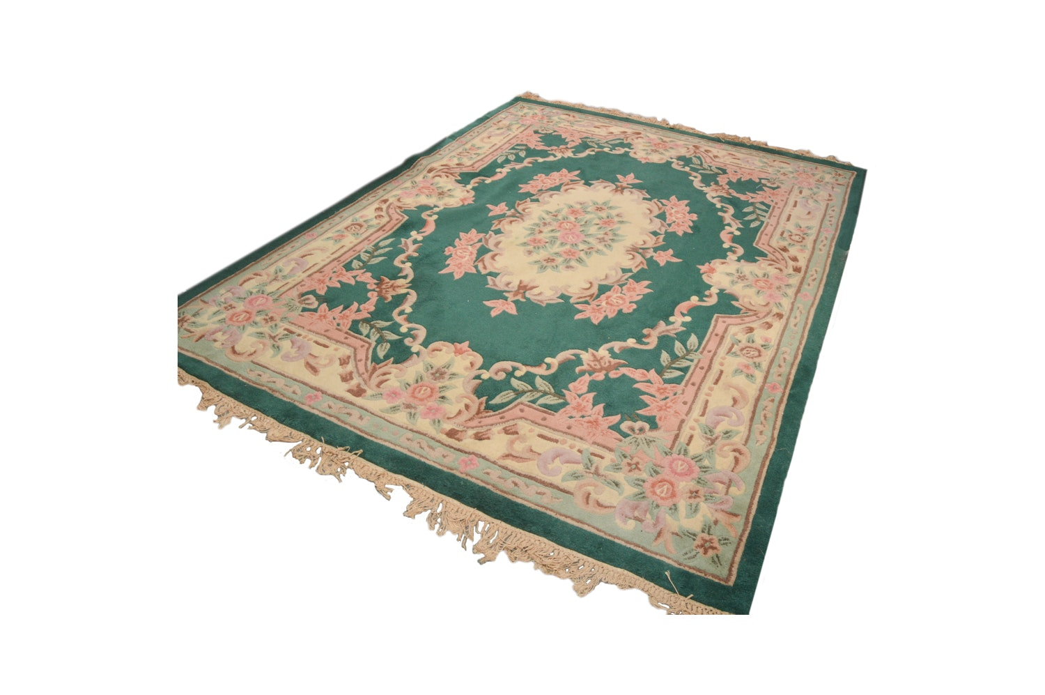 Hand Tufted Chinese Aubusson Style Carved Wool Area Rug Ebth