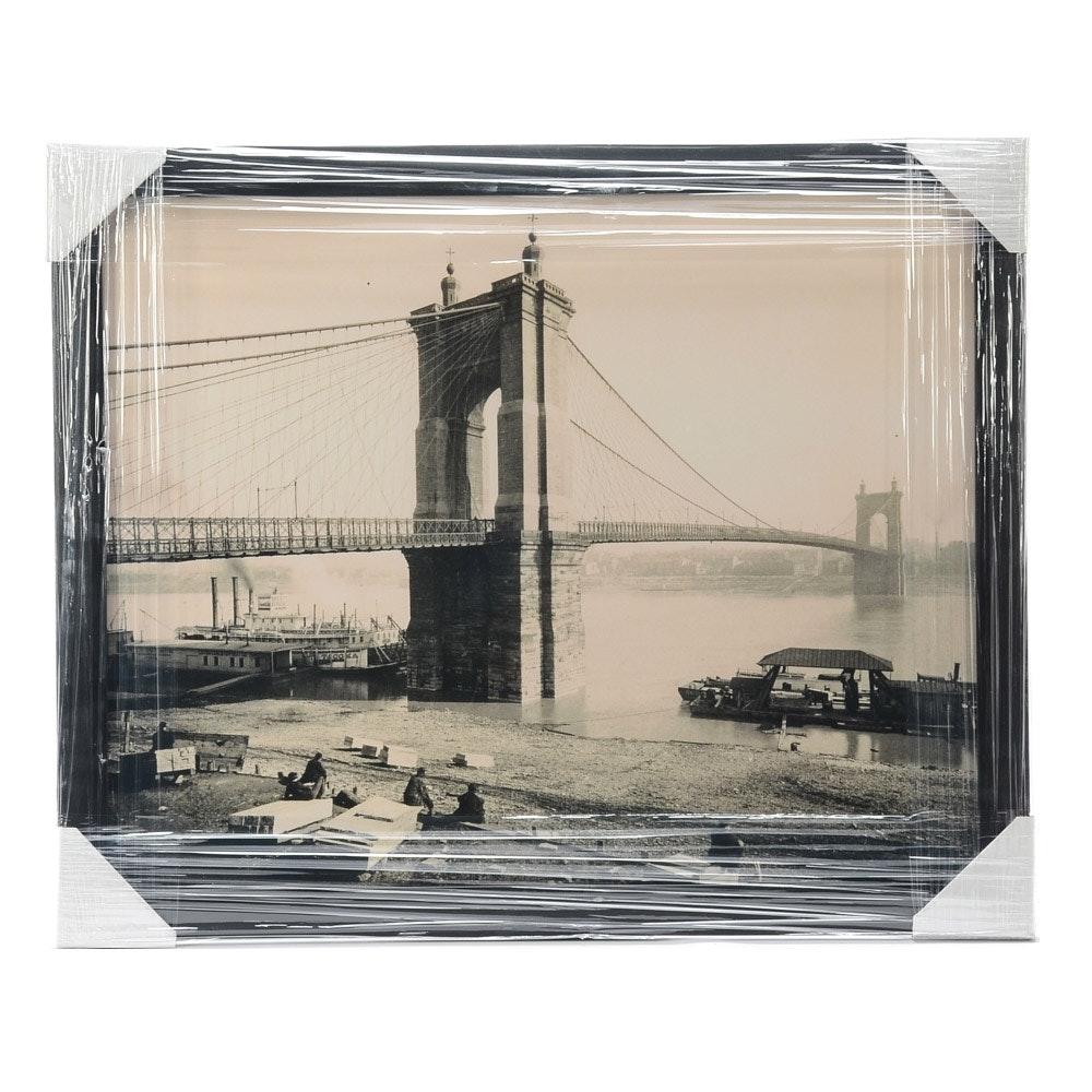 "Contemporary 1920s-30s ""Public Landing"" Cincinnati Framed Display"