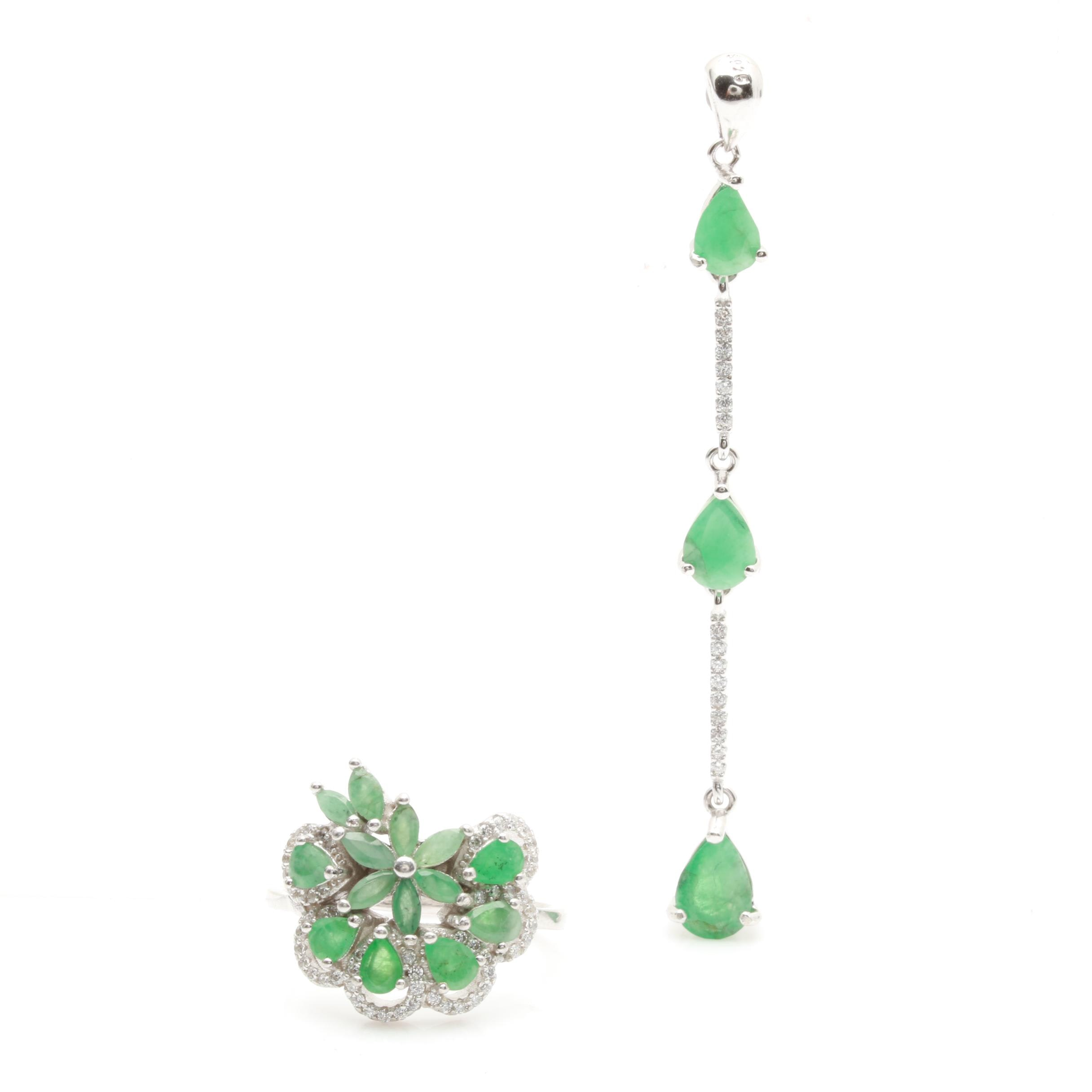 Sterling Silver Green Beryl and Cubic Zirconia Jewelry