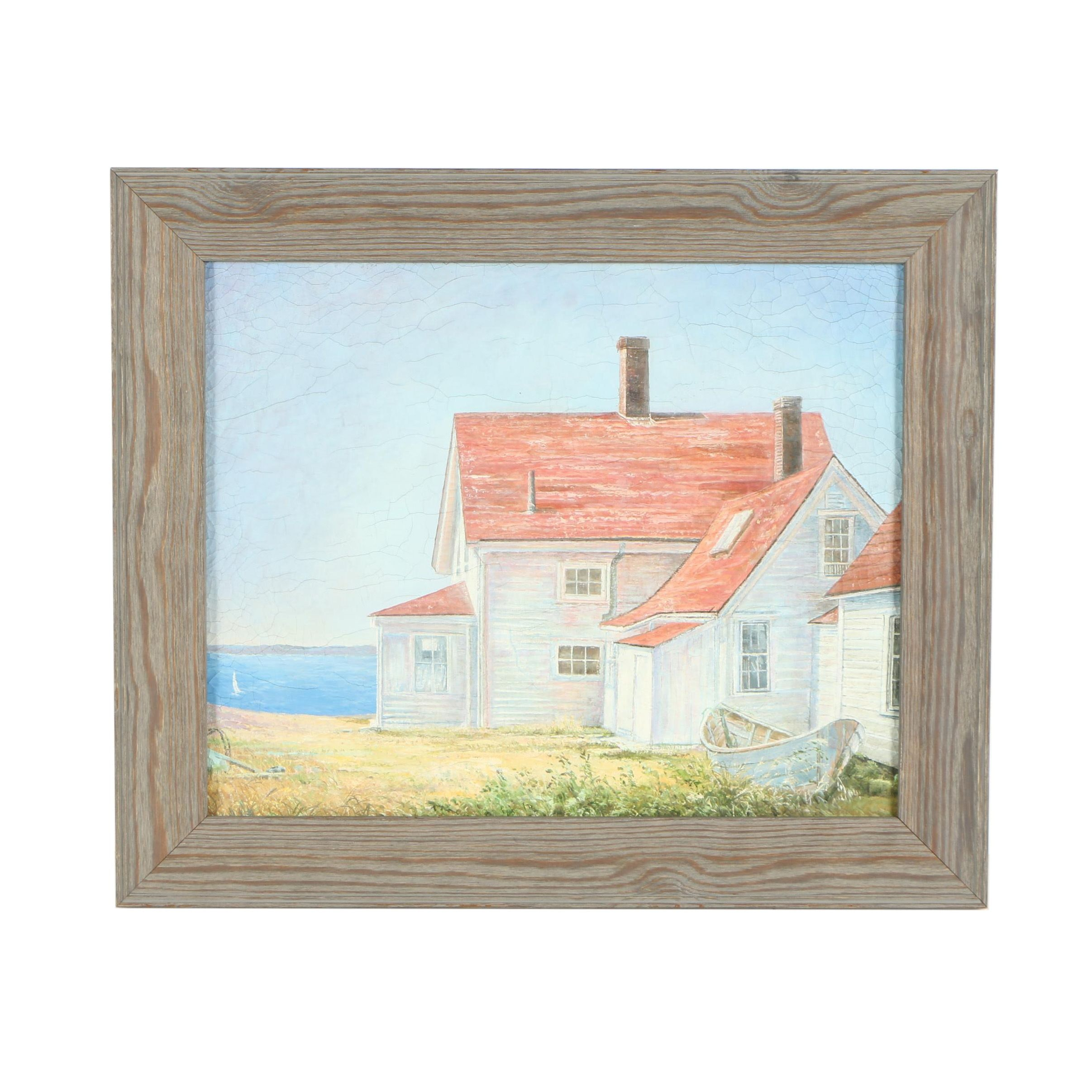 Oil Painting of a Waterfront Home