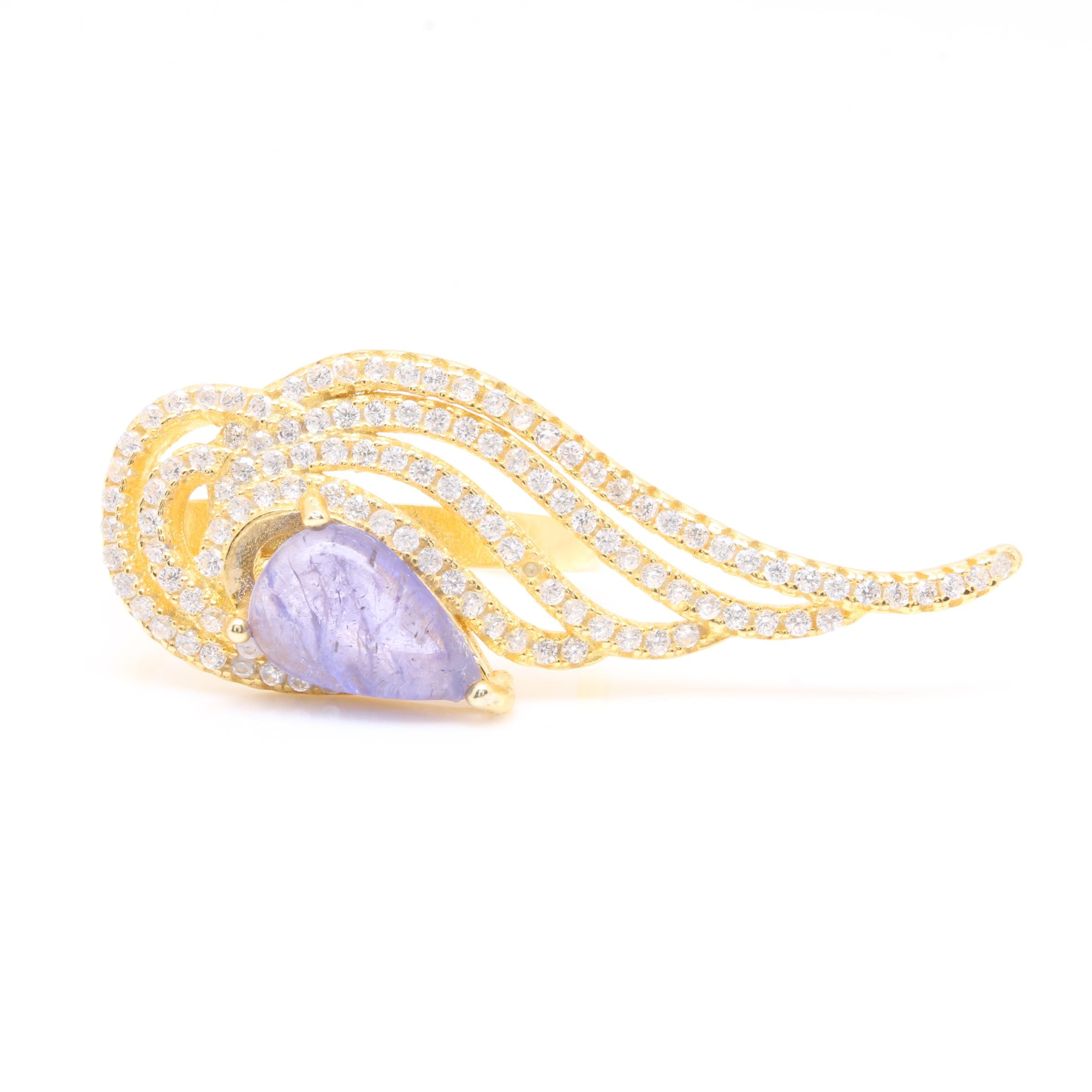 Gold Wash on Sterling Silver Tanzanite and Cubic Zirconia Ring