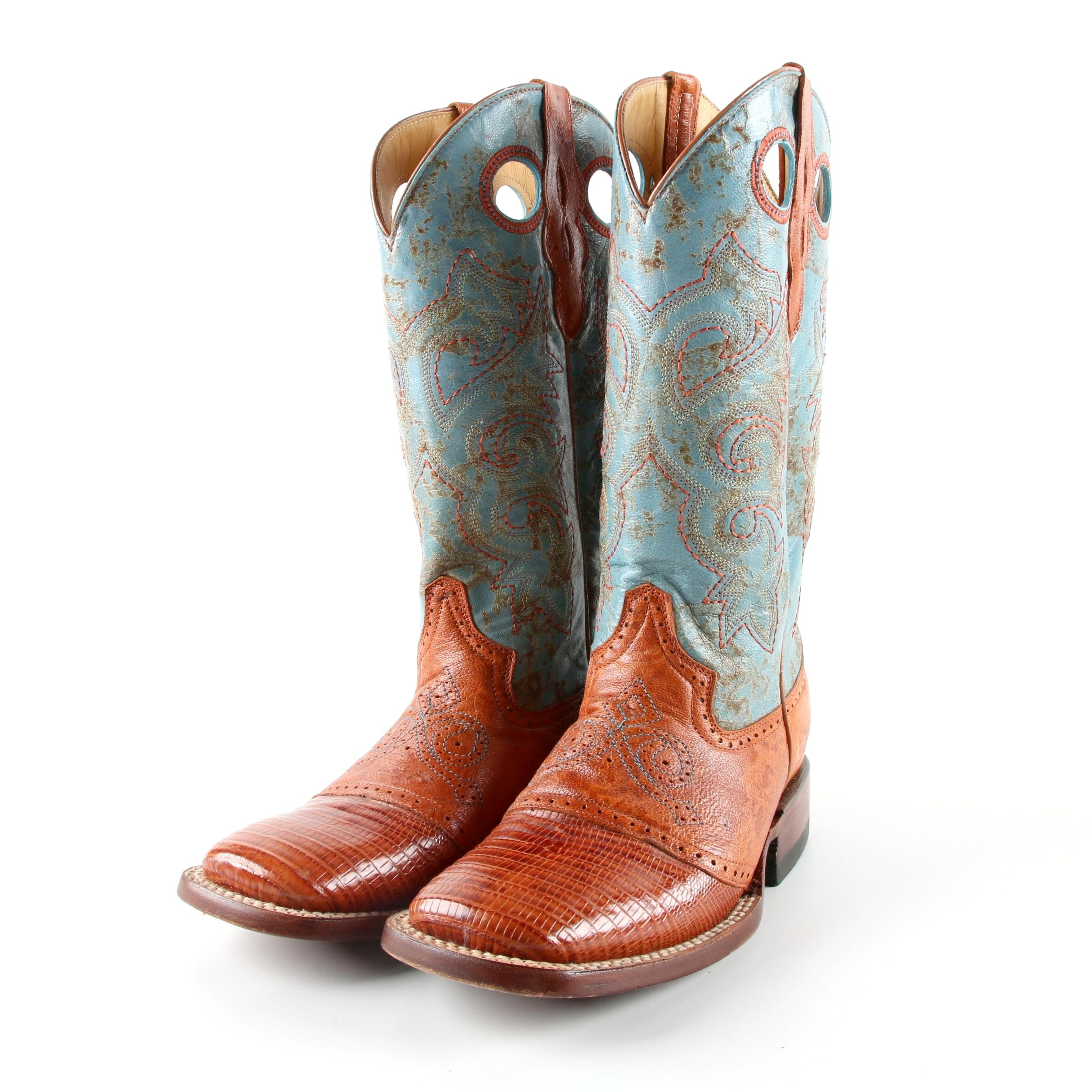 Women's Ferrini Embossed and Brogue Detailed Leather Western Boots