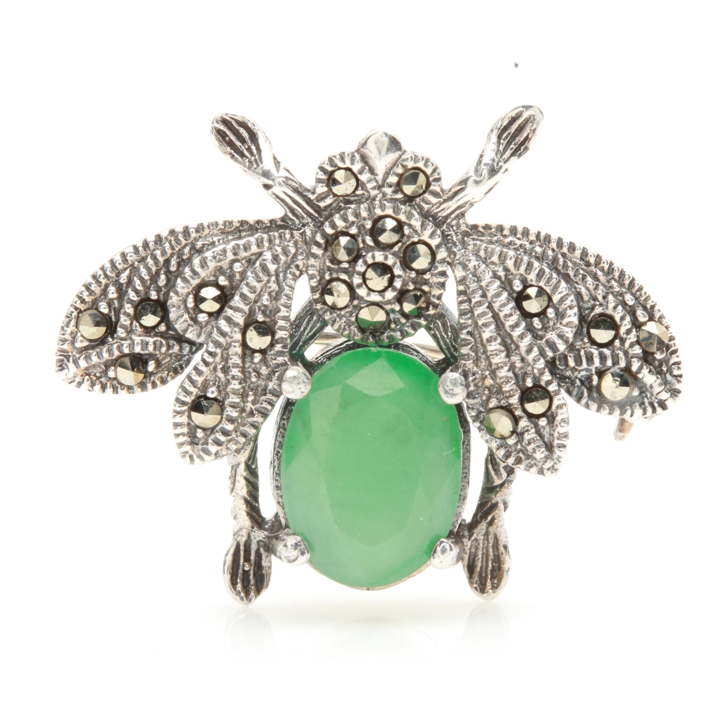 Sterling Silver Emerald and Marcasite Bug Converter Brooch