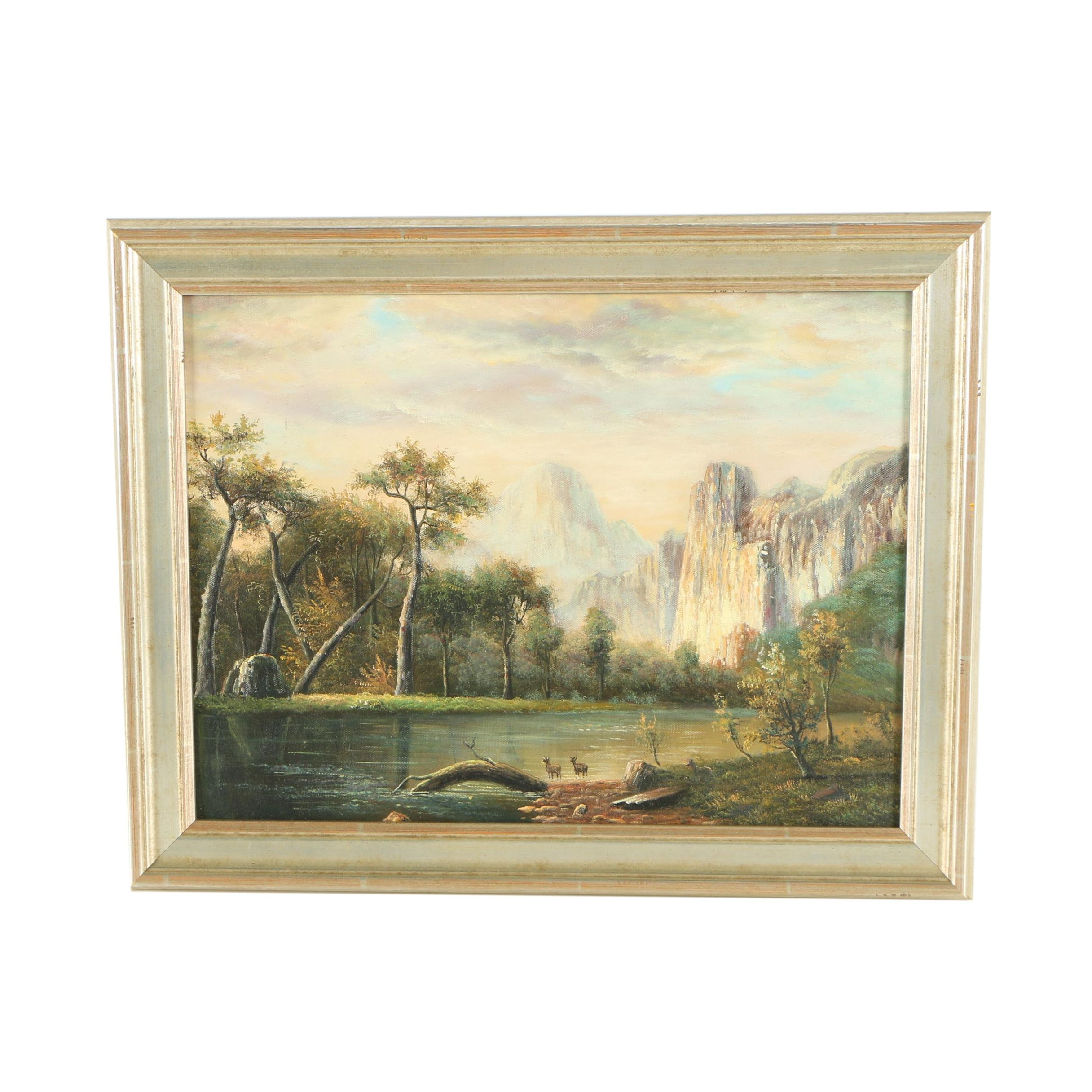 Oil Painting of a Bucolic Landscape