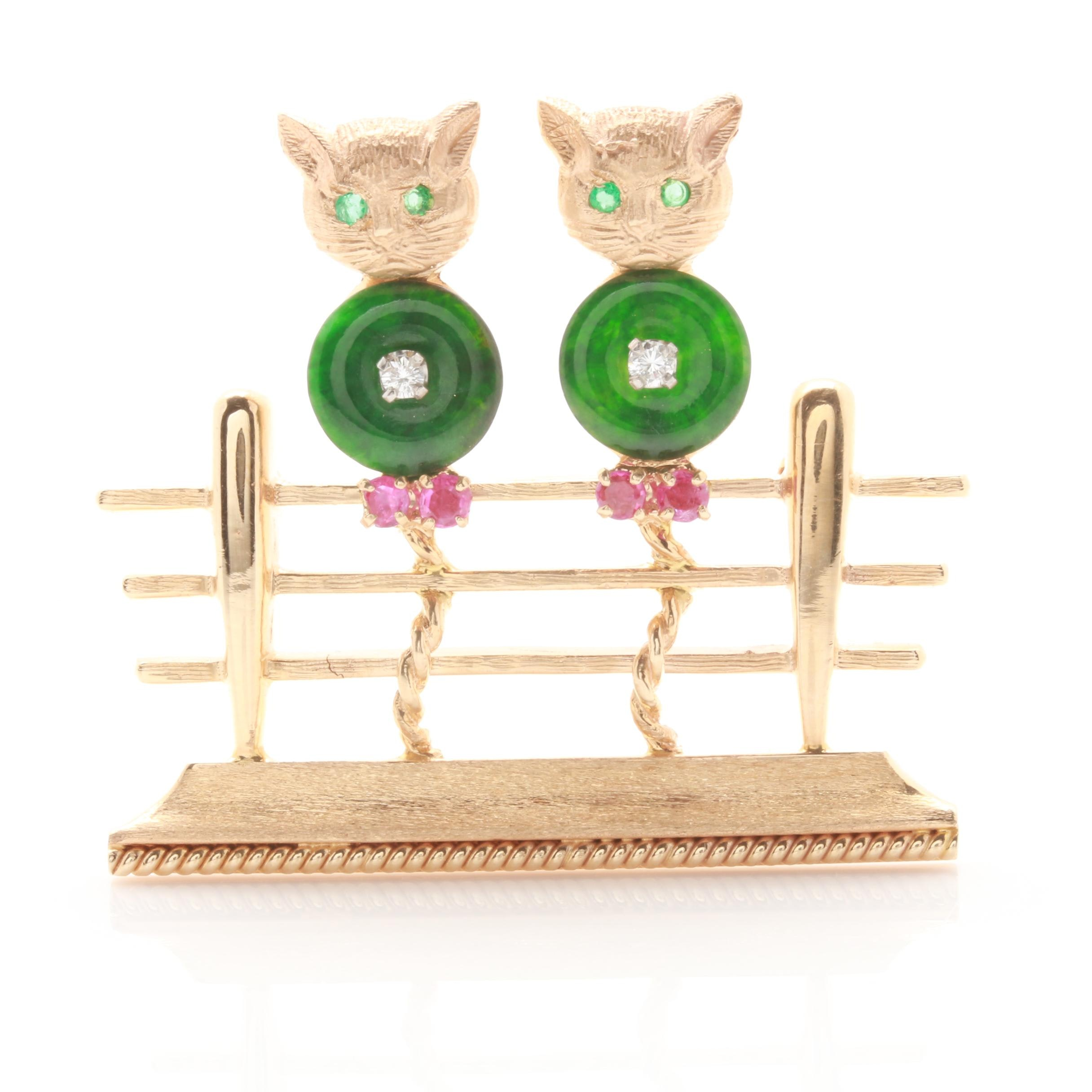 14K Yellow Gold Jadeite, Ruby, Diamond and Emerald Cats on Fence Brooch