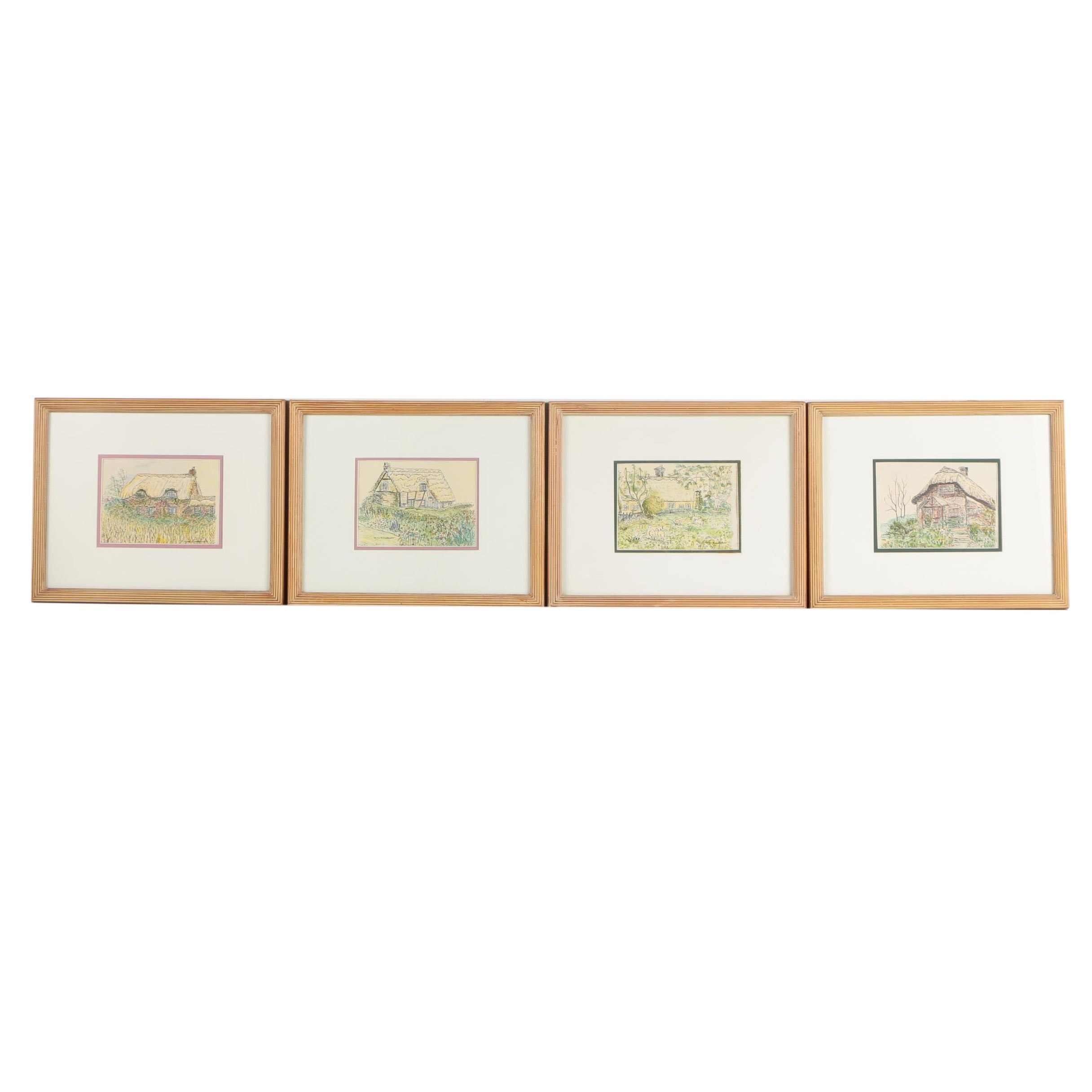 Hand Colored Lithographs of Cottages After Clare Lombardo