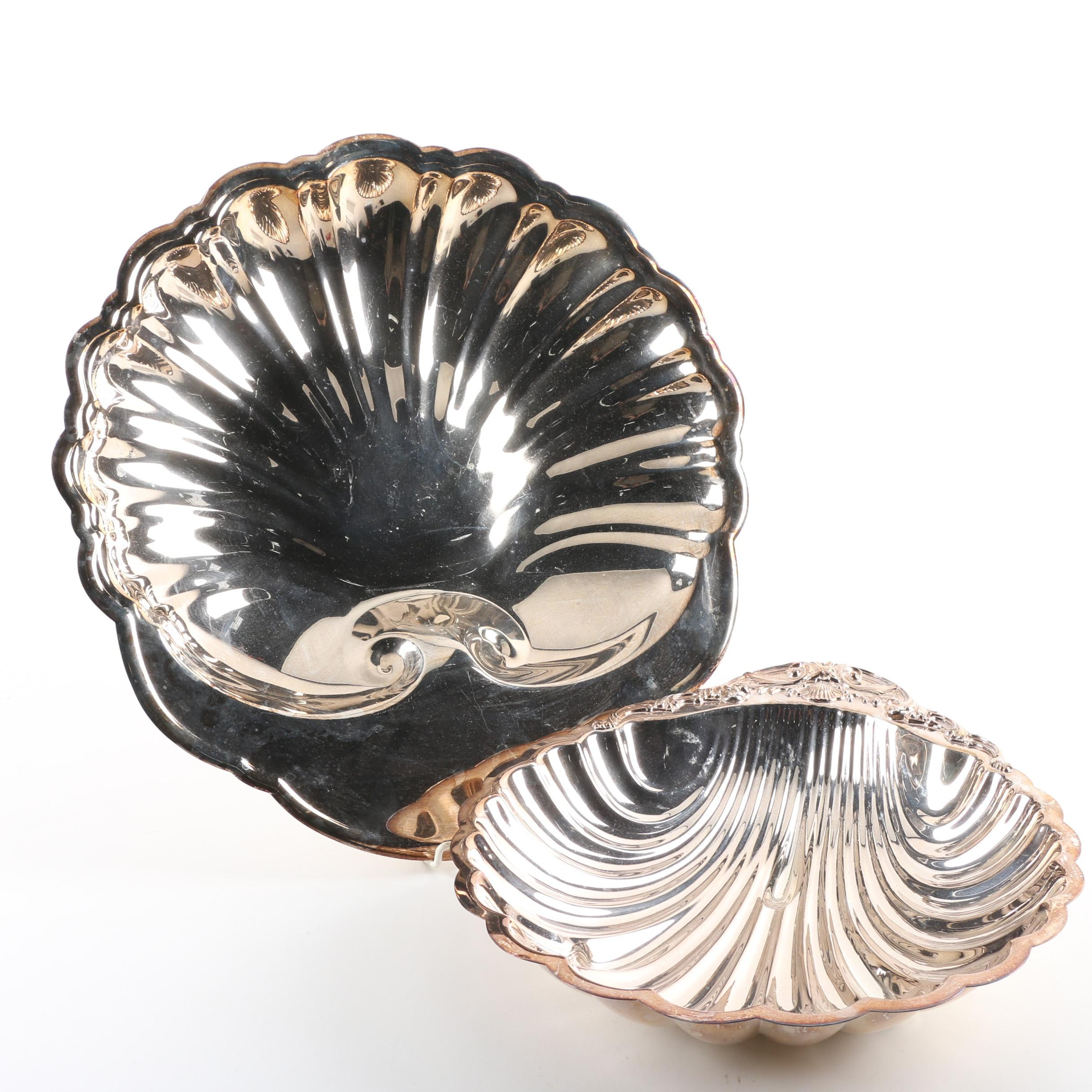 Silver Plate Shell Serving Dishes Featuring F.B. Rogers