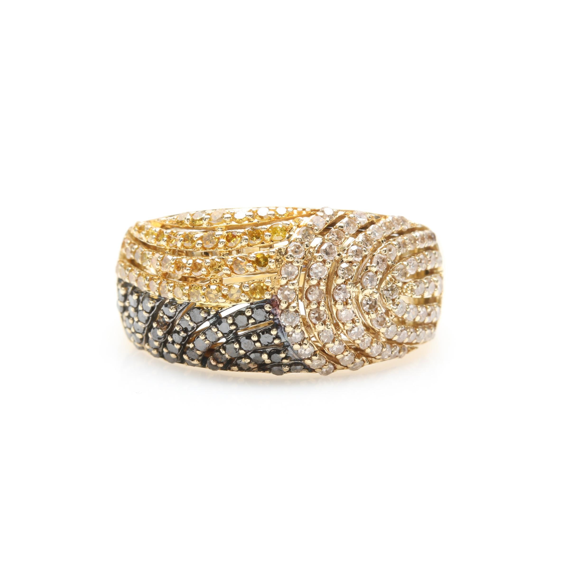 10K Yellow Gold Black, Brown and Yellow Diamond Ring