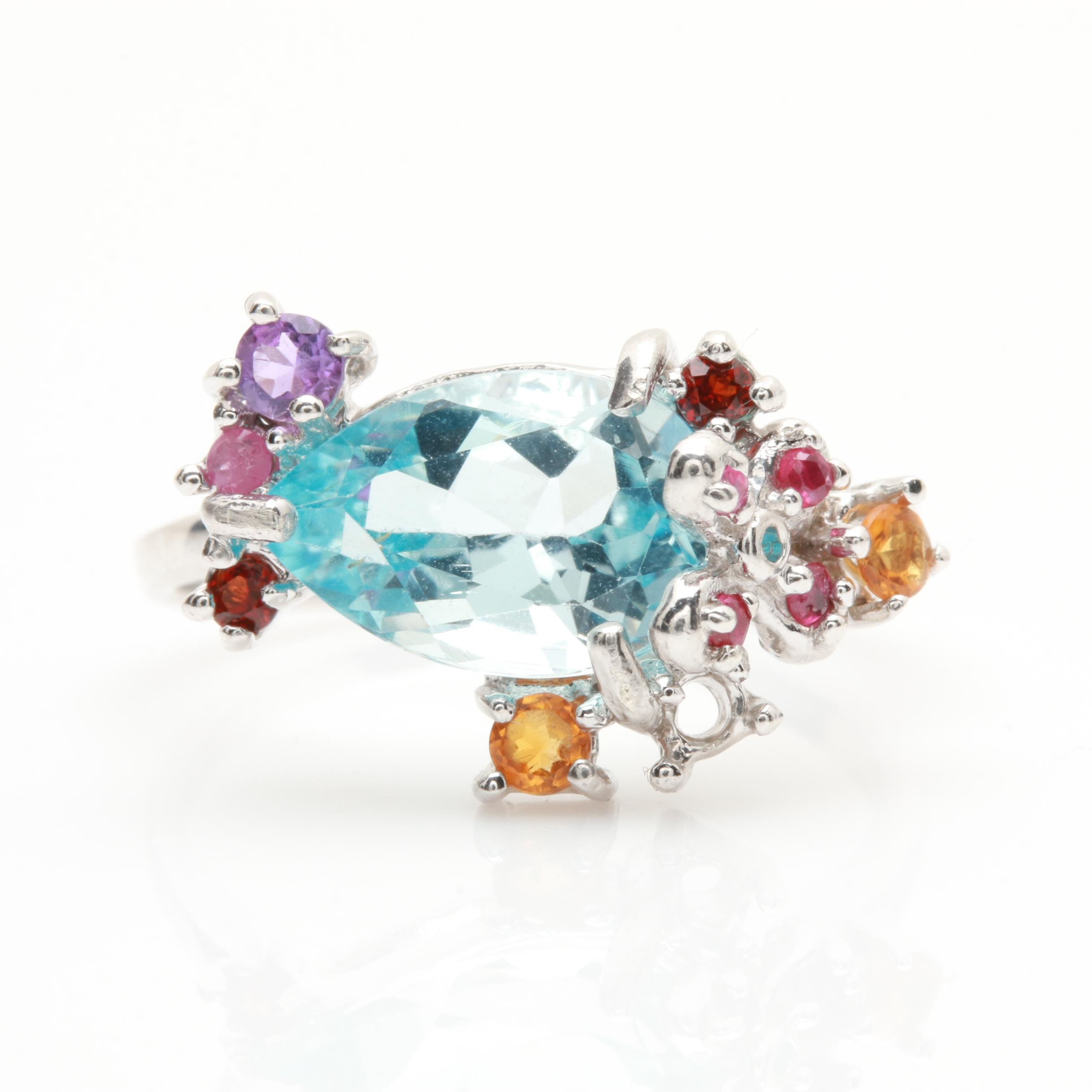 Sterling Silver Topaz and Gemstone Ring