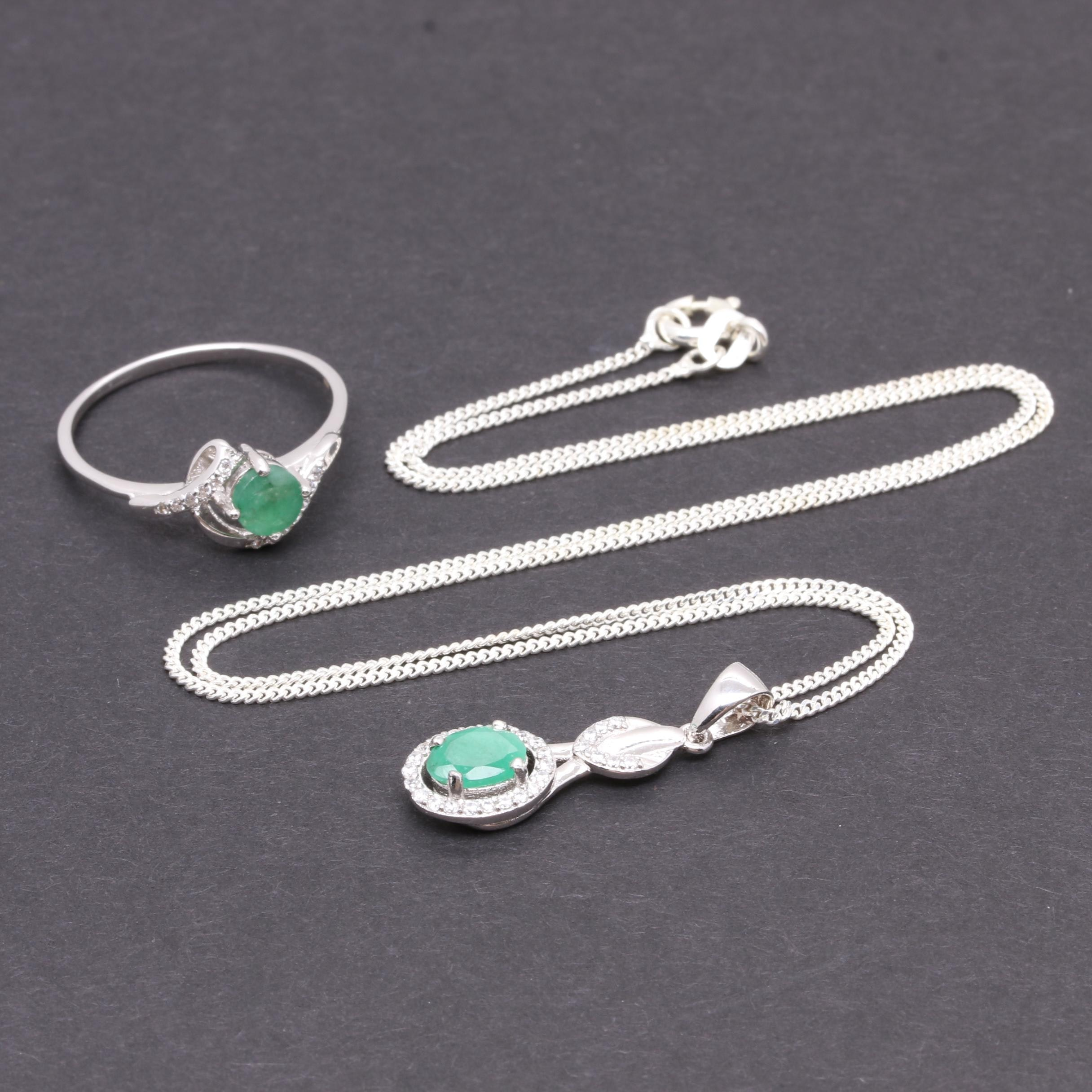 Sterling Silver and Emerald Ring and Pendant Necklace