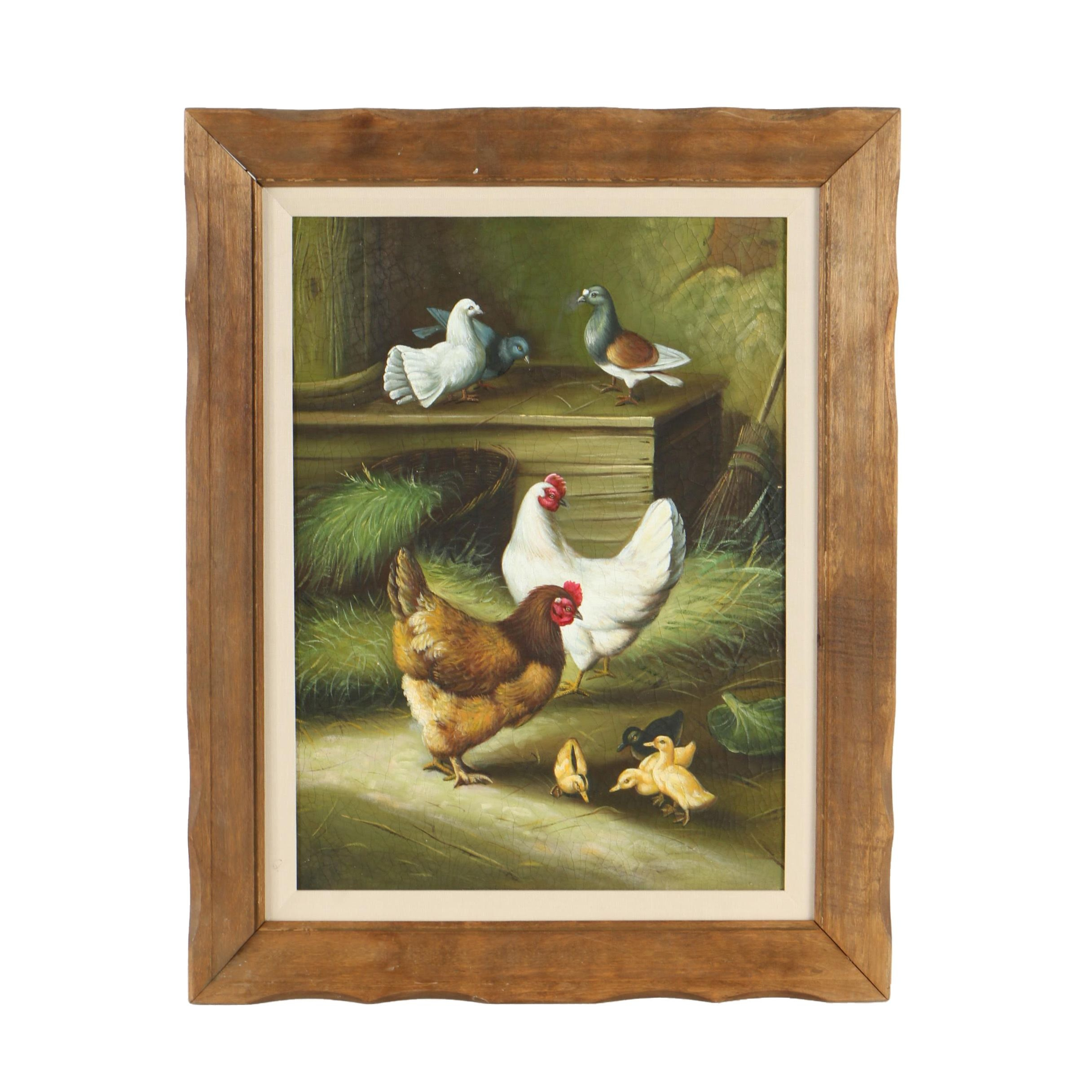 Oil Painting of Chickens and Pigeons