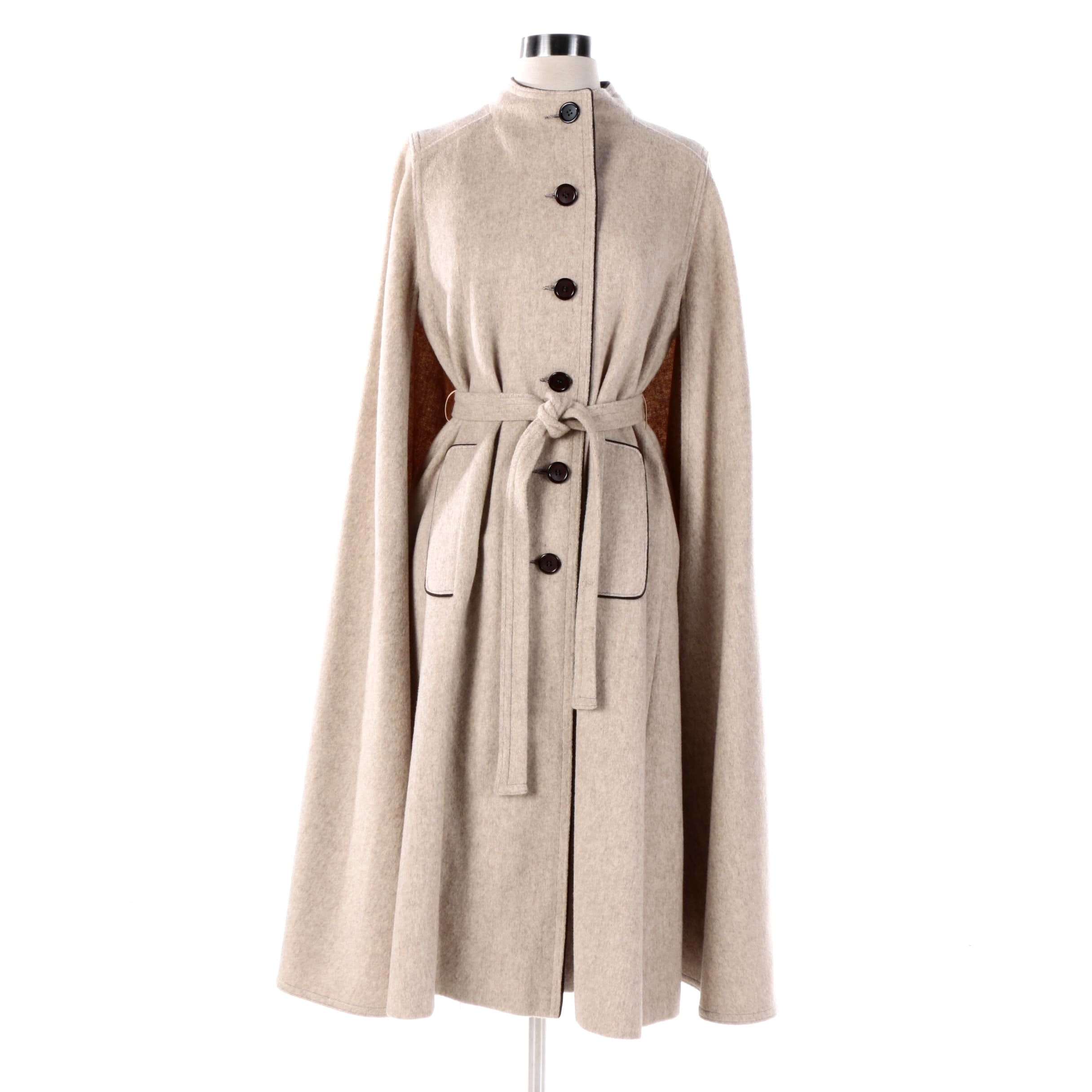 Women's Vintage Gemini Beige Wool Cape Coat