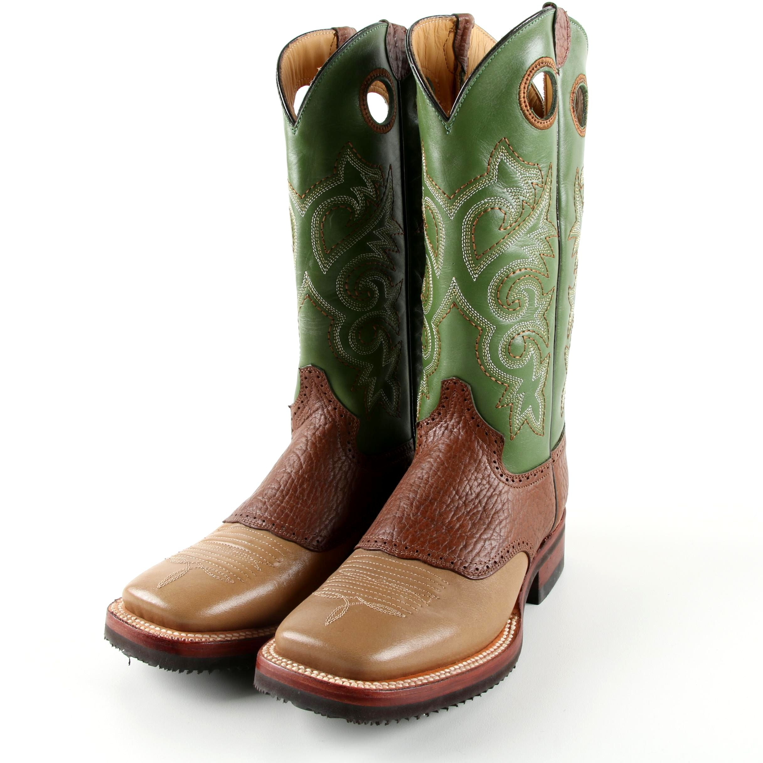 Women's Ferrini Green and Brown Leather Cowgirl Boots