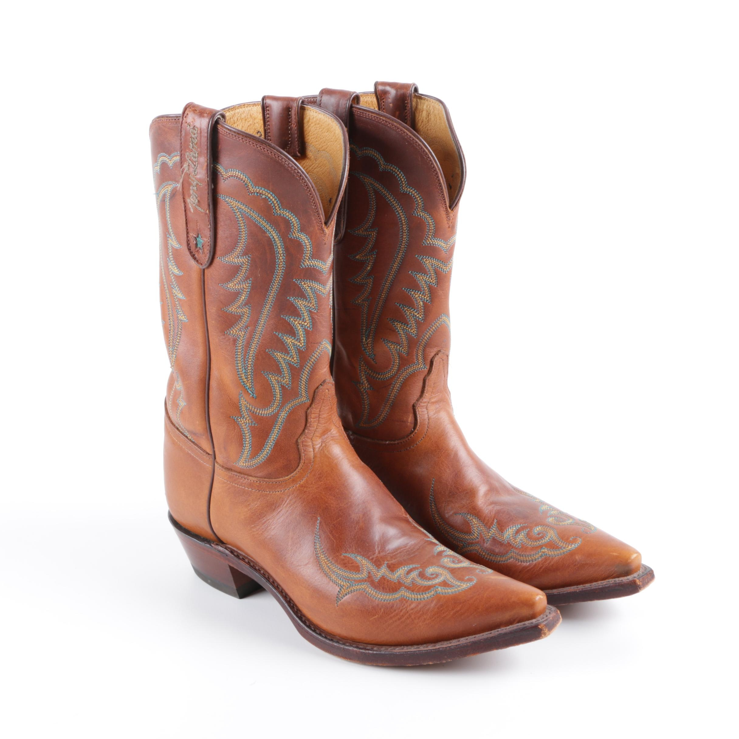 Women's Tony Lama Light Brown Leather Cowgirl Boots