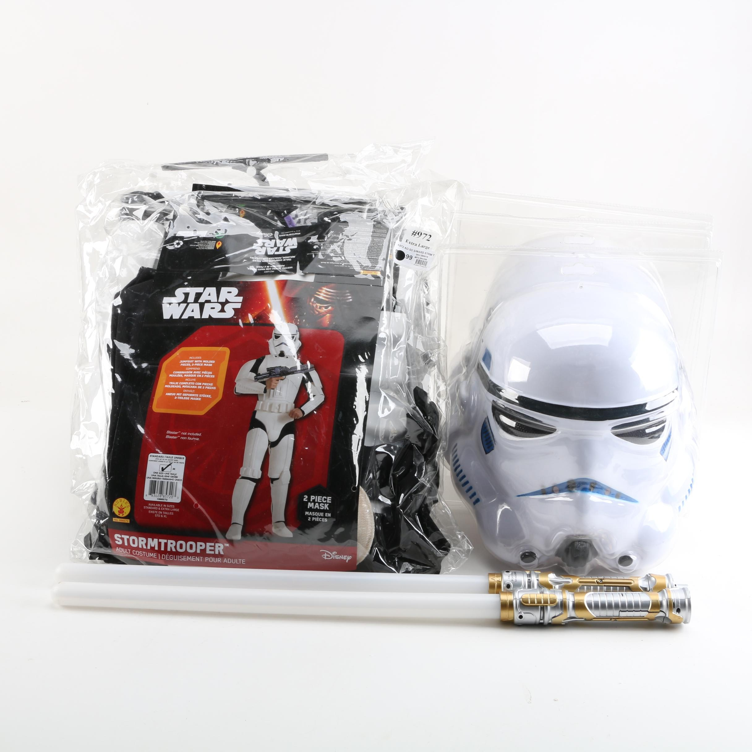 """Disney """"Star Wars"""" Stormtrooper Adult Costumes And Light Sabers"""