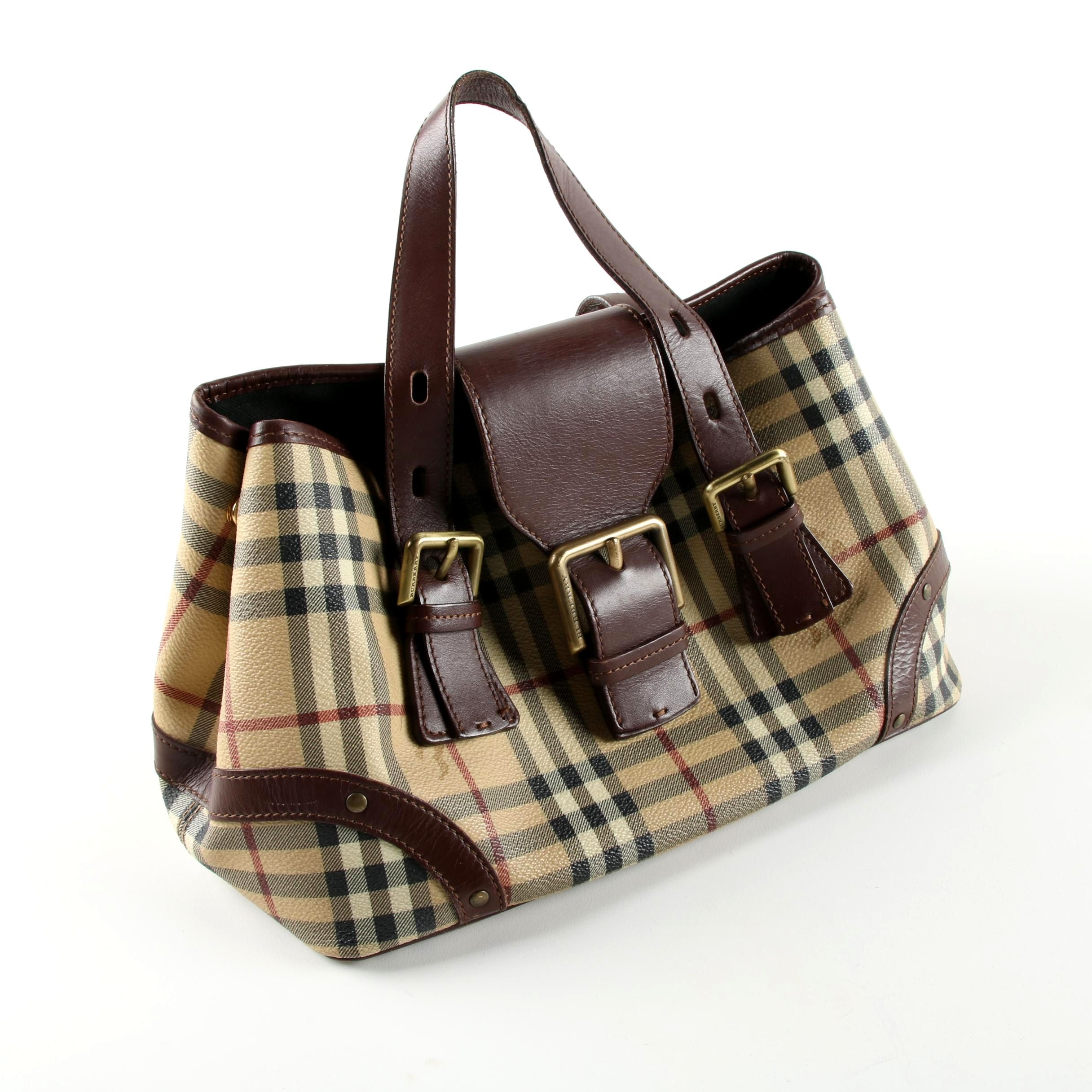 Burberry London Plaid Coated Canvas Handbag