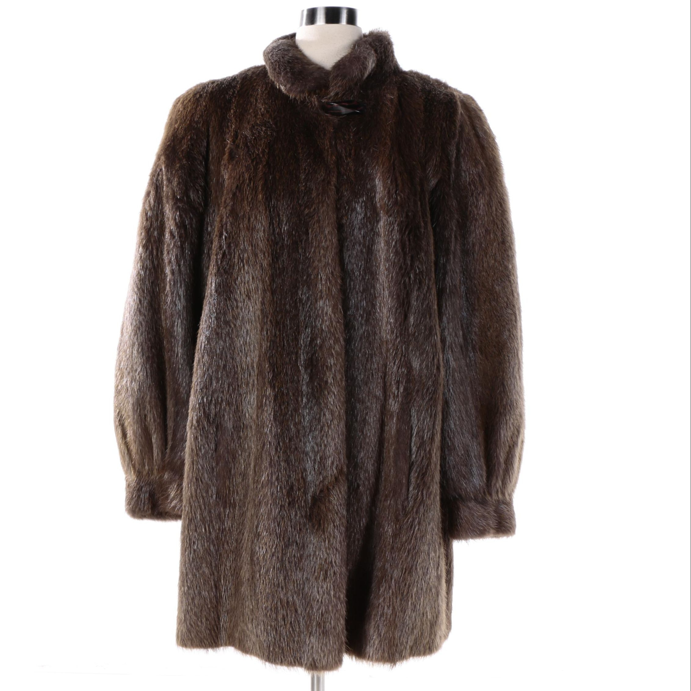 Women's Vintage Furrari New York Nutria Fur Stroller Coat