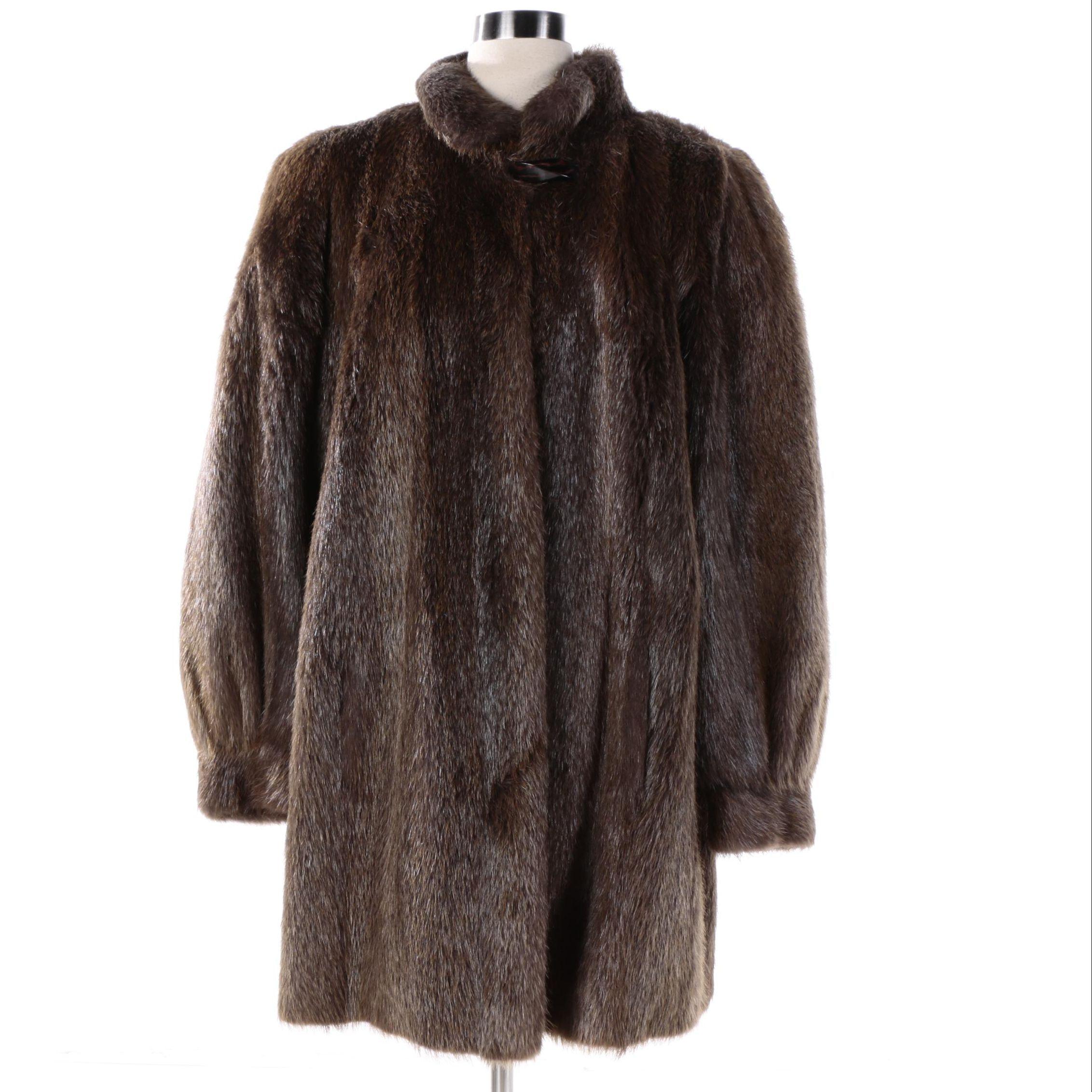 Women's Vintage Furrari New York Nutria Fur Stroller Coat