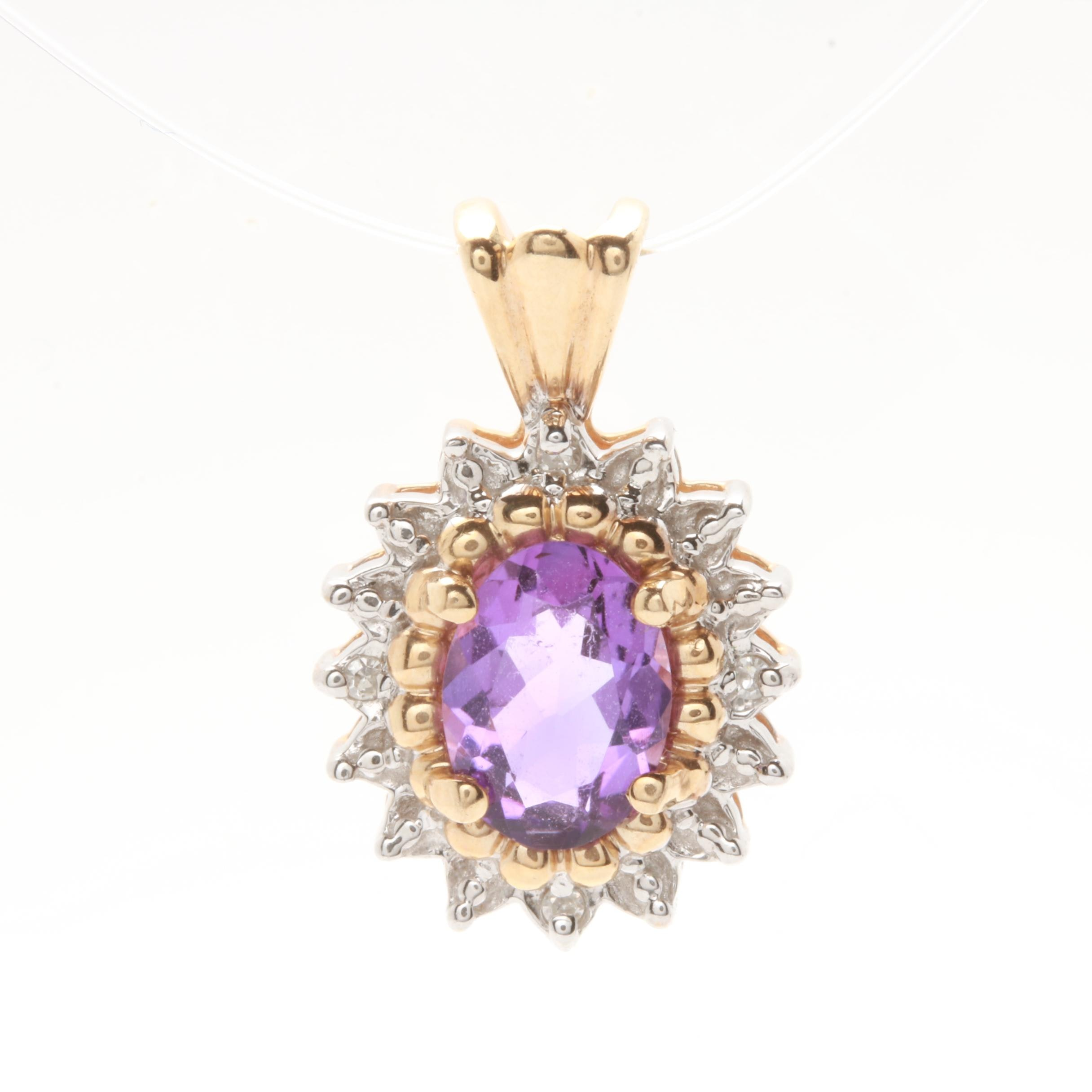 14K Yellow Gold Amethyst and Diamond Halo Pendant