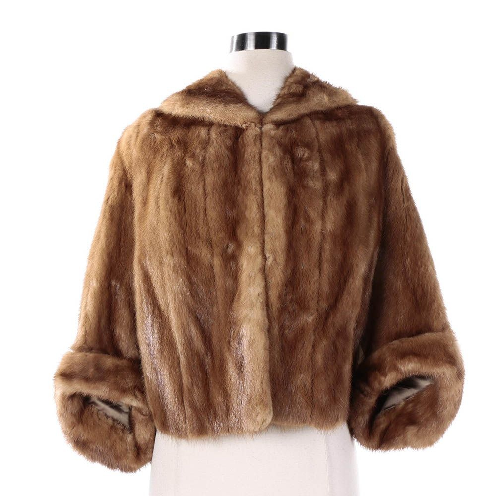 Vintage Brown Mink Fur Capelet