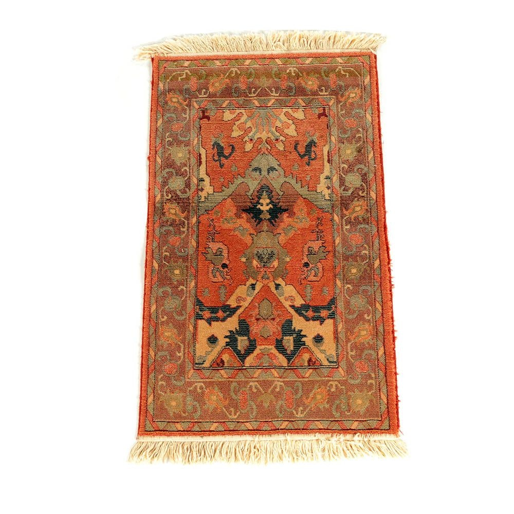 Power-Loomed Kurdish-Inspired Wool Accent Rug