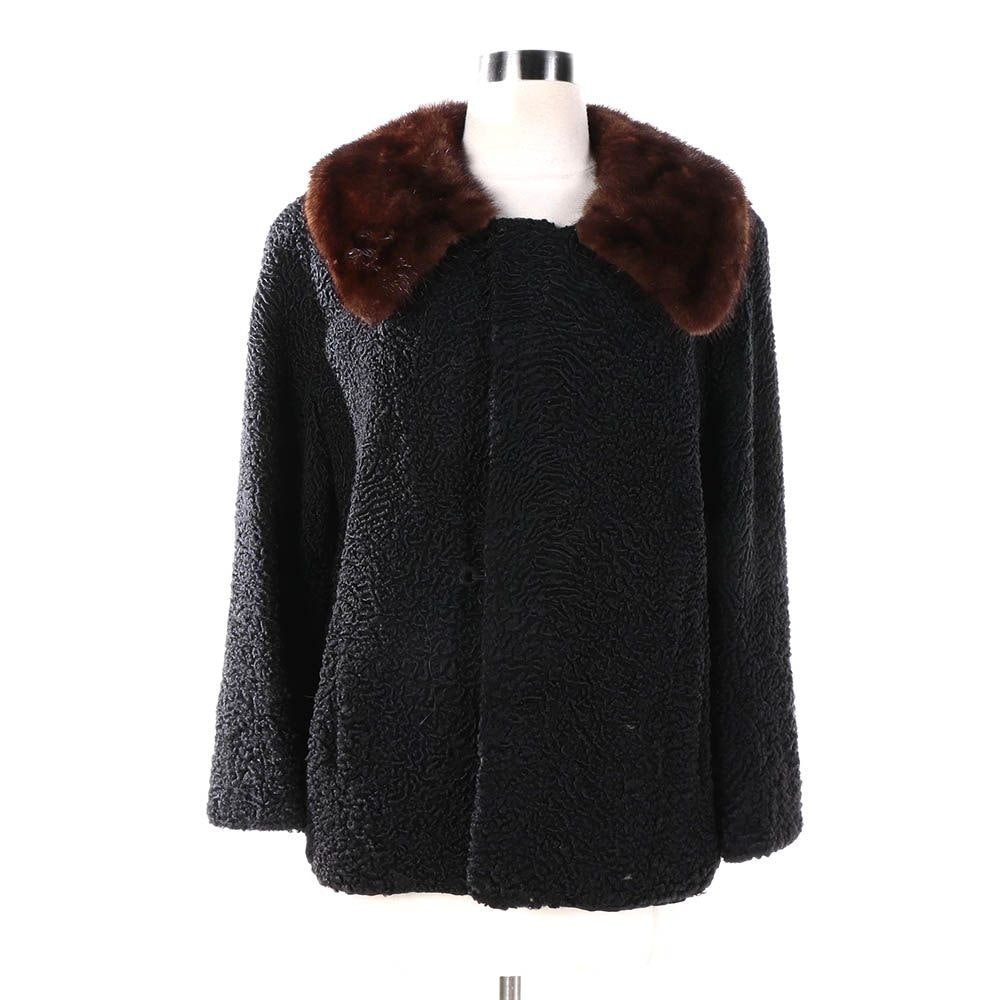 Vintage Sears Fashion Black Persian Lamb Fur Jacket with Brown Mink Fur Collar