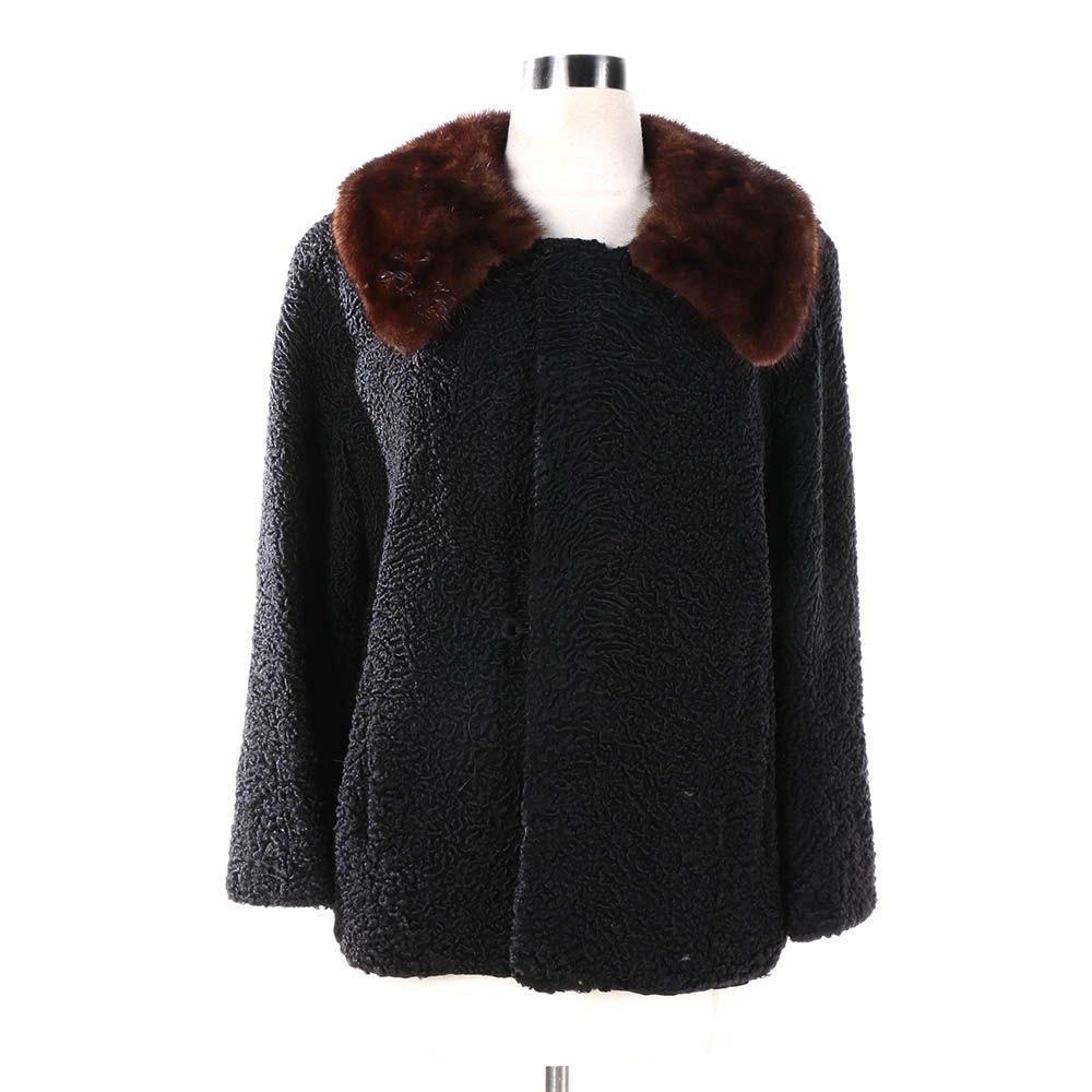 Vintage Sears Fashion Black Persian Lamb Fur Jacket with Brown Mink Fur Collar