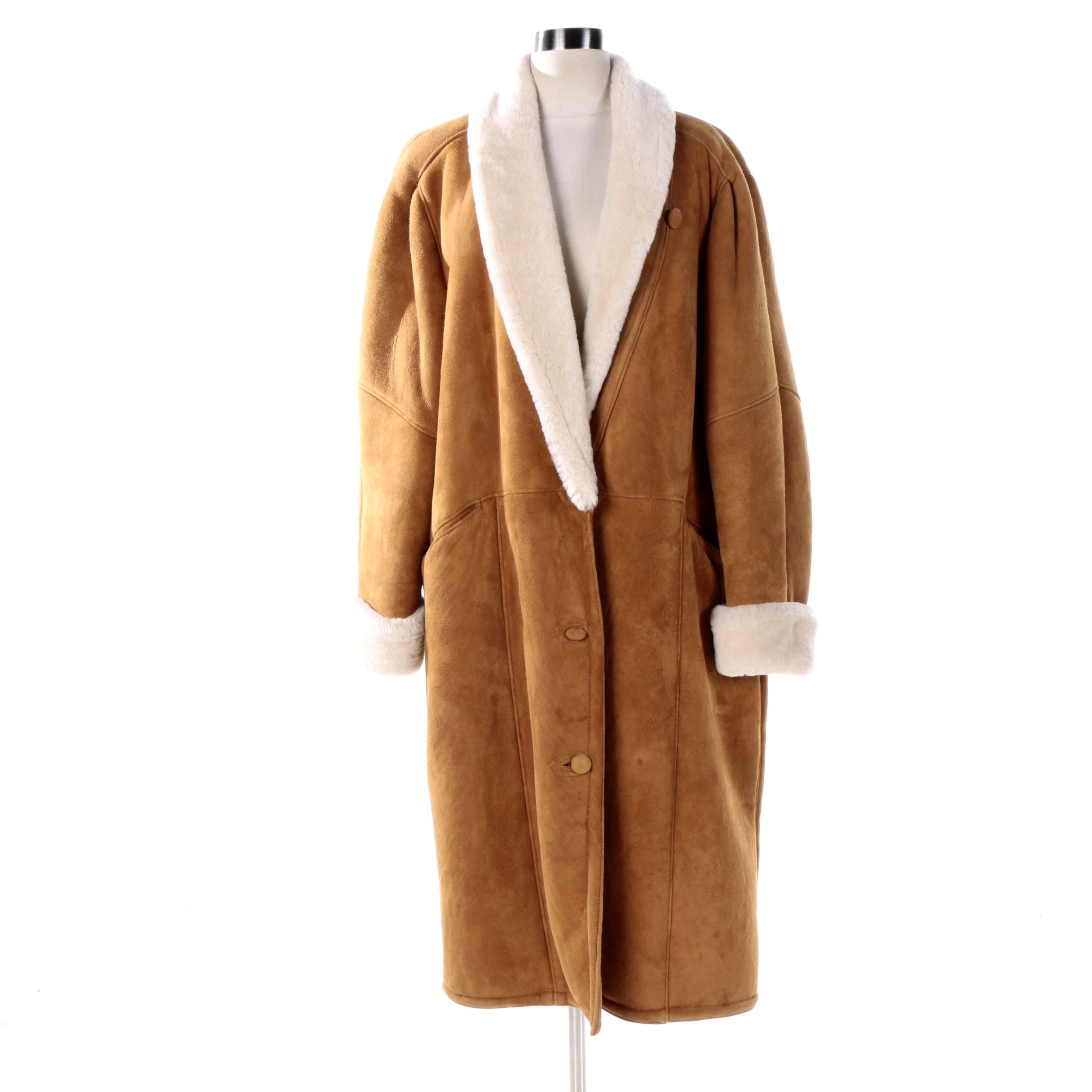 Women's Clifford Michael Tan Suede and Shearling Coat