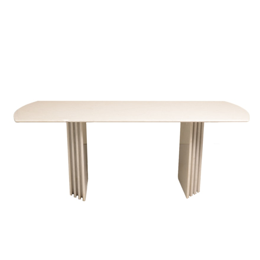 Art Deco White Marble Dining Table In The Style Of Roche