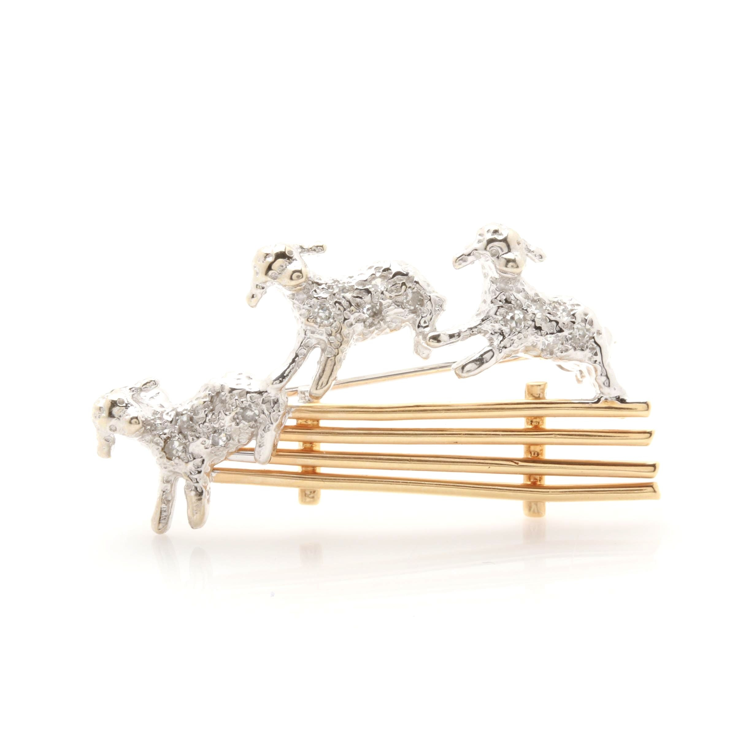 """14K White and Yellow Gold Diamond """"Counting Sheep"""" Brooch"""