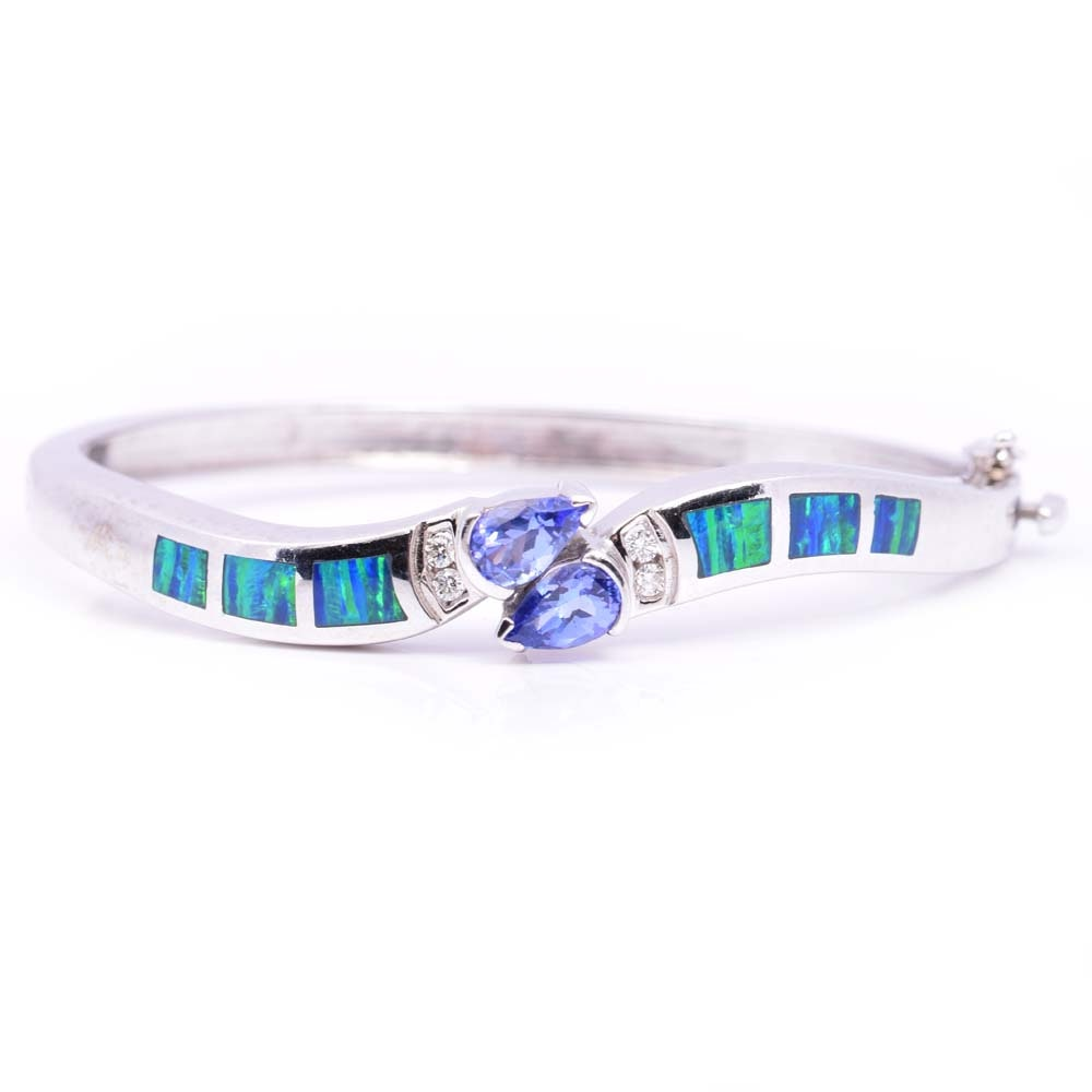 14K White Gold Tanzanite, Diamond and Opal Inlay Bangle Bracelet