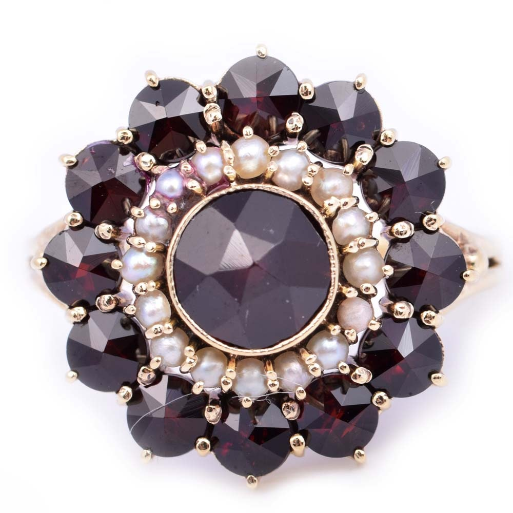 14K Yellow Gold Garnet and Seed Pearl Ring