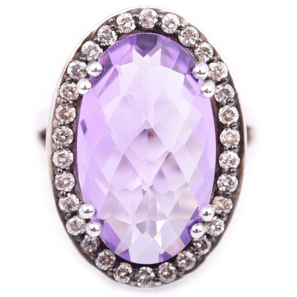 Sterling Silver and Platinum Alloy Amethyst and Diamond Ring