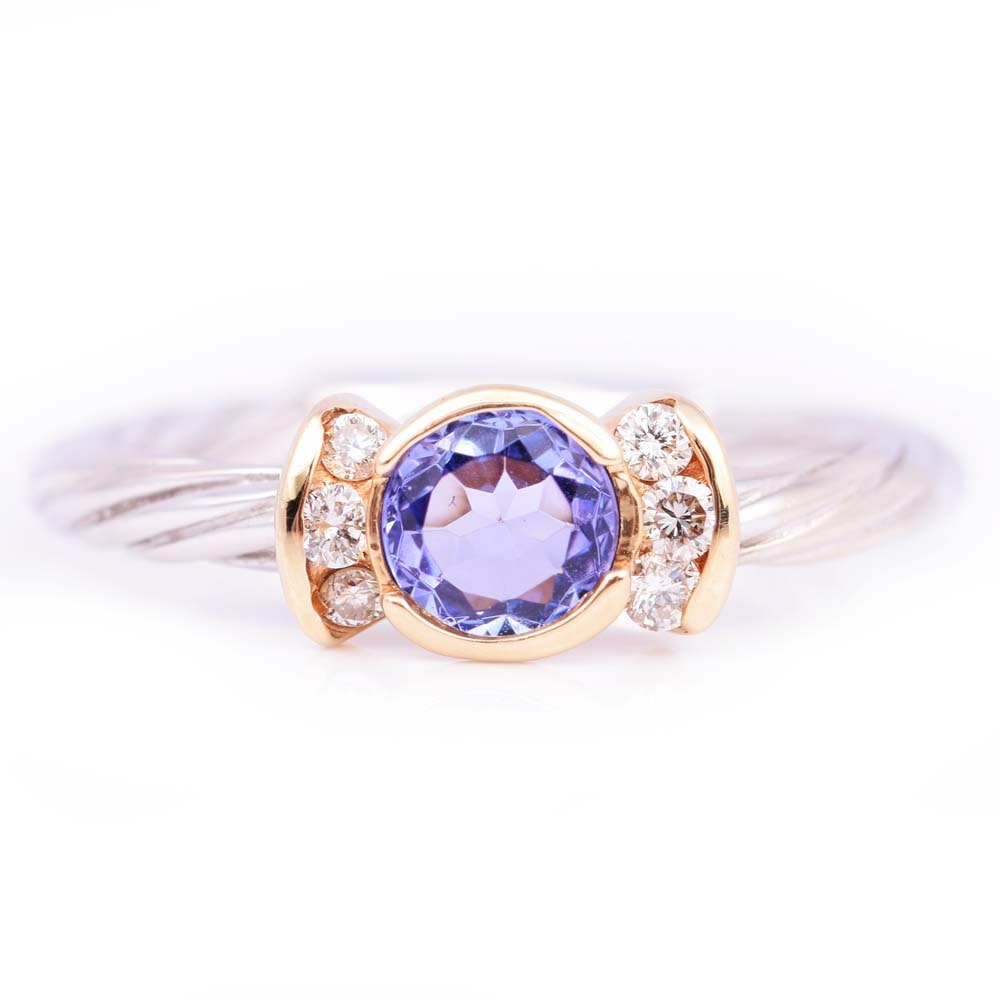 14K Multicolor Gold Tanzanite and Diamond Ring
